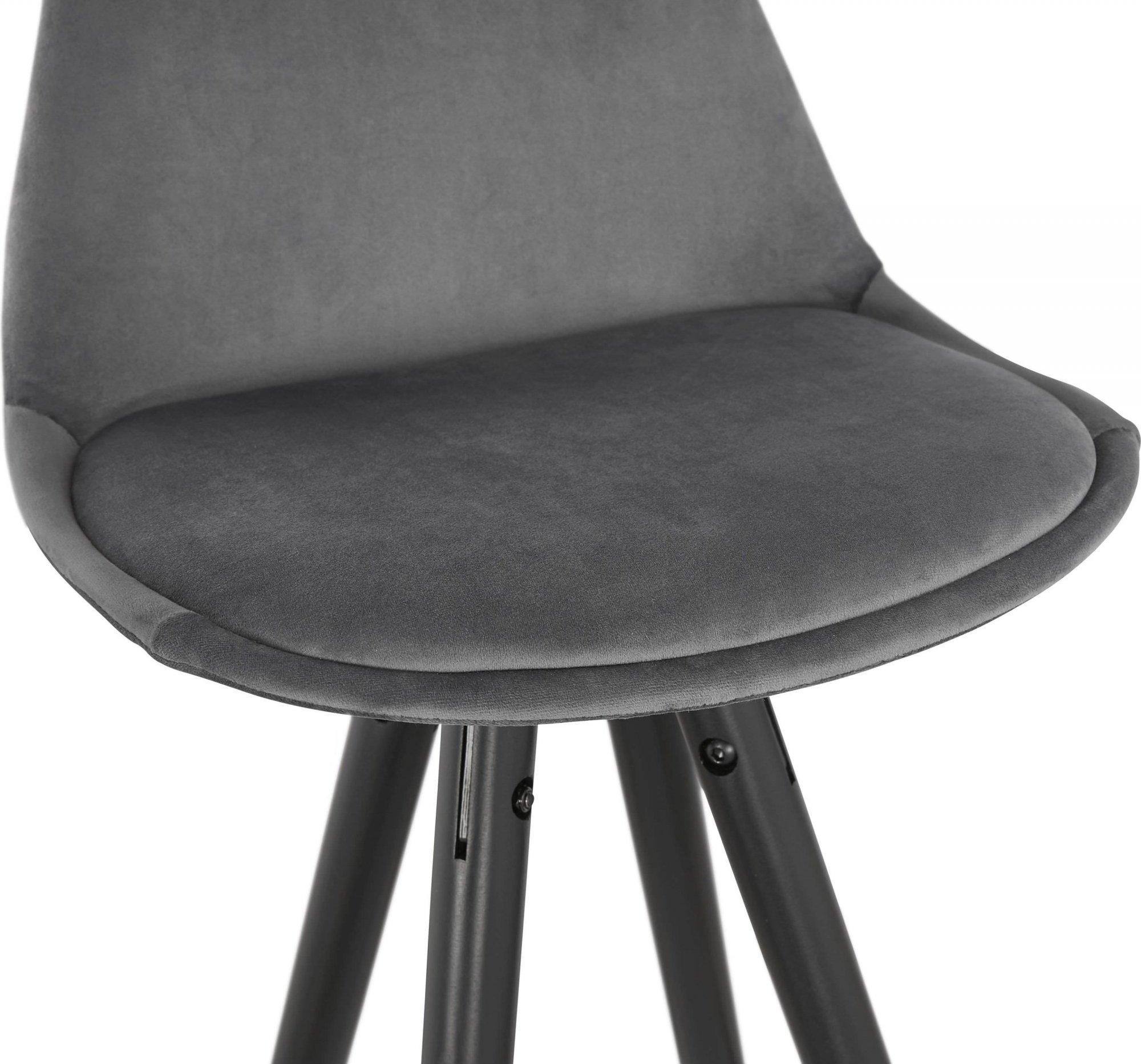 Tabouret de bar design bois noir et velours gris h87cm