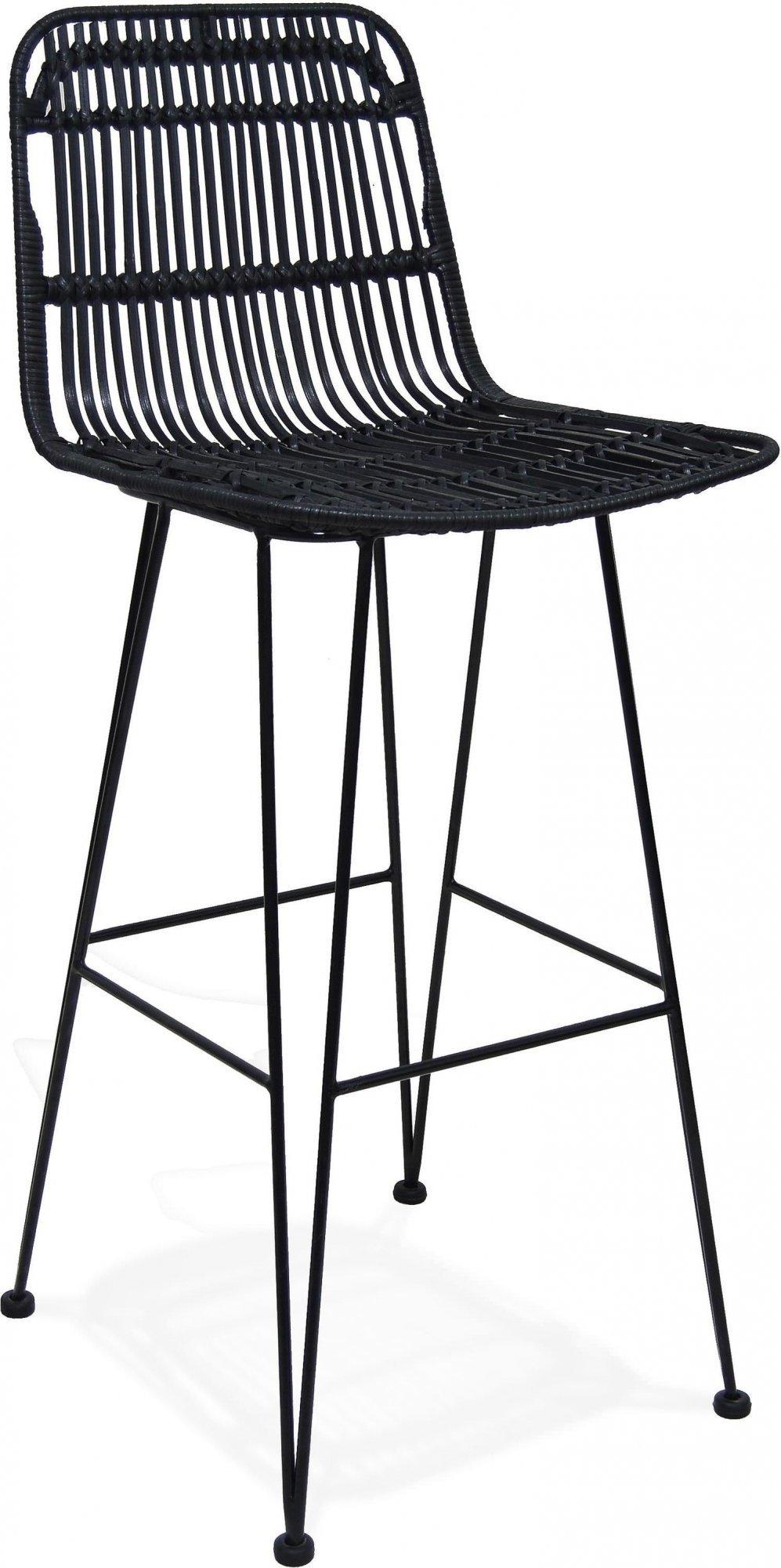 Chaise de bar cannage couleur noir h assise 75cm