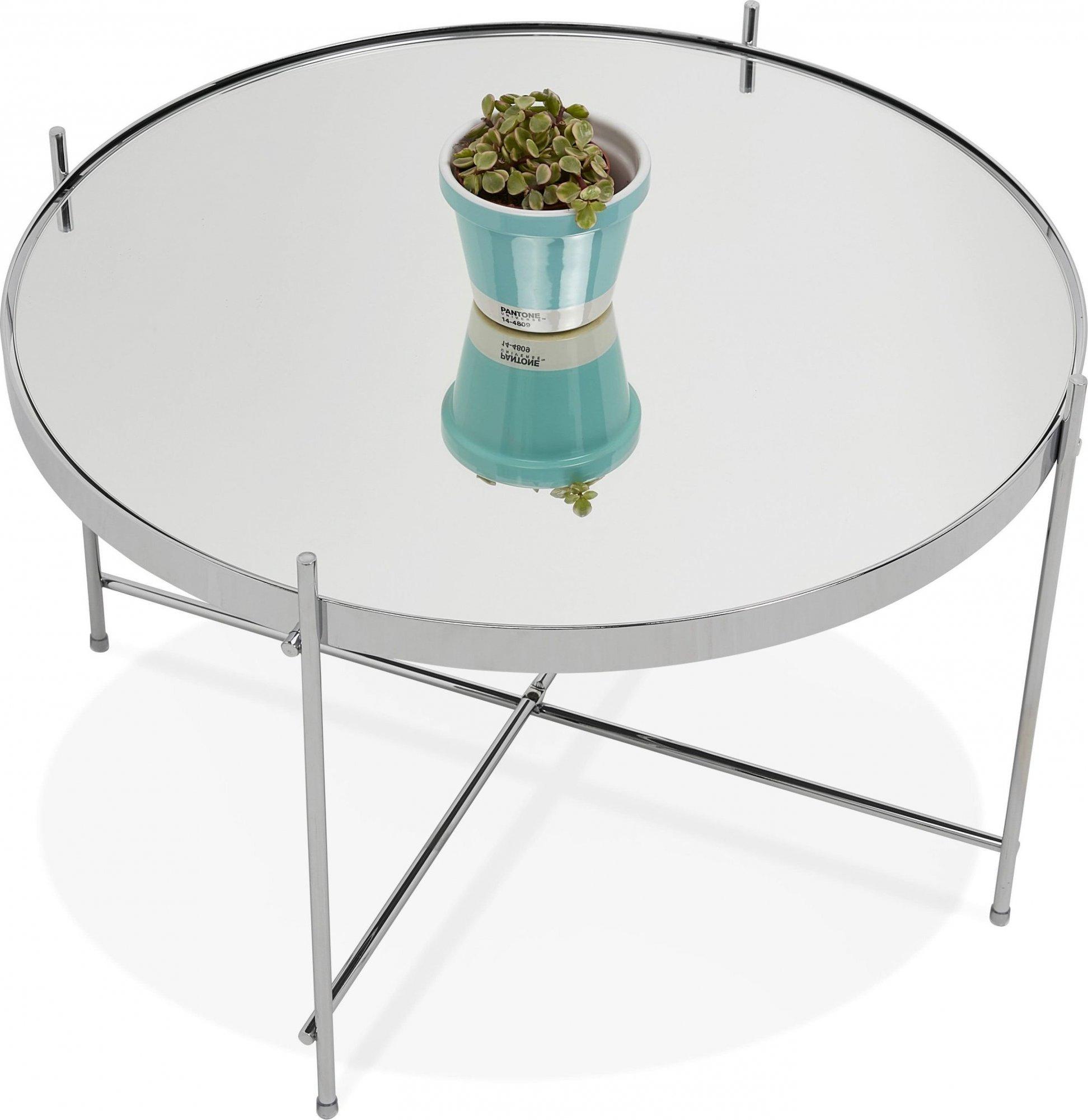 Table basse design métal et verre miroir chrome d63cm