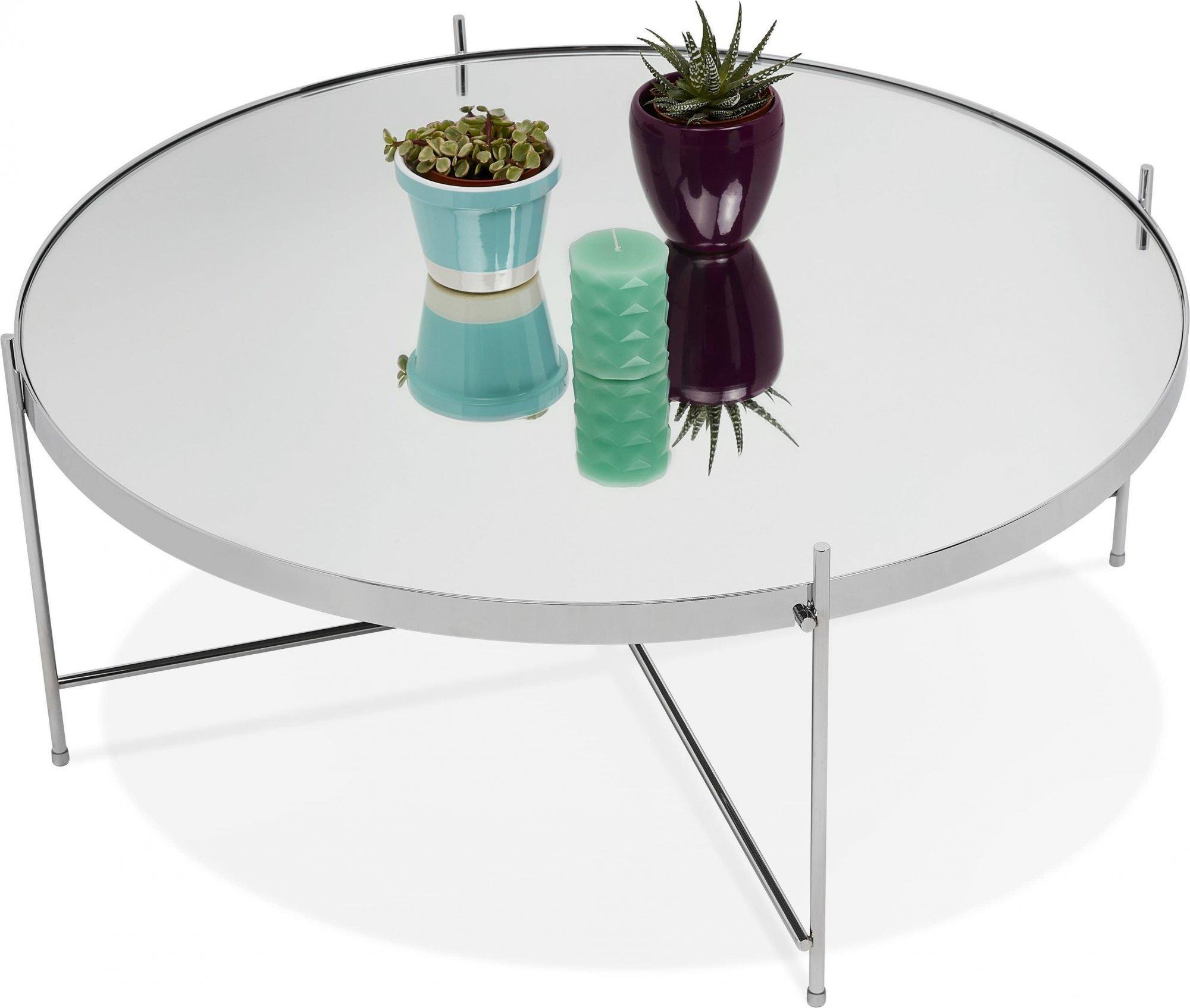 Table basse design métal et verre miroir chrome d83cm
