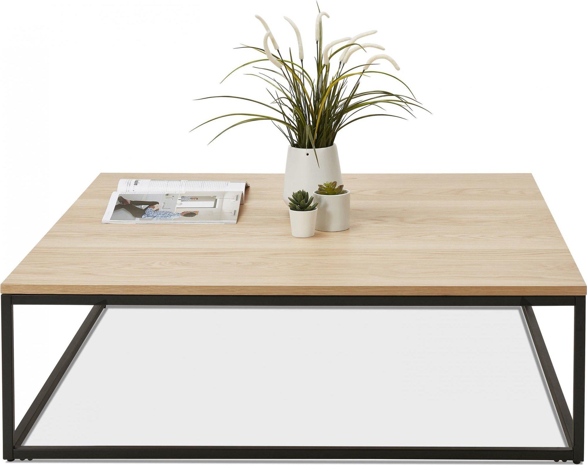 Table basse carré métal noir et plateau bois clair l110cm