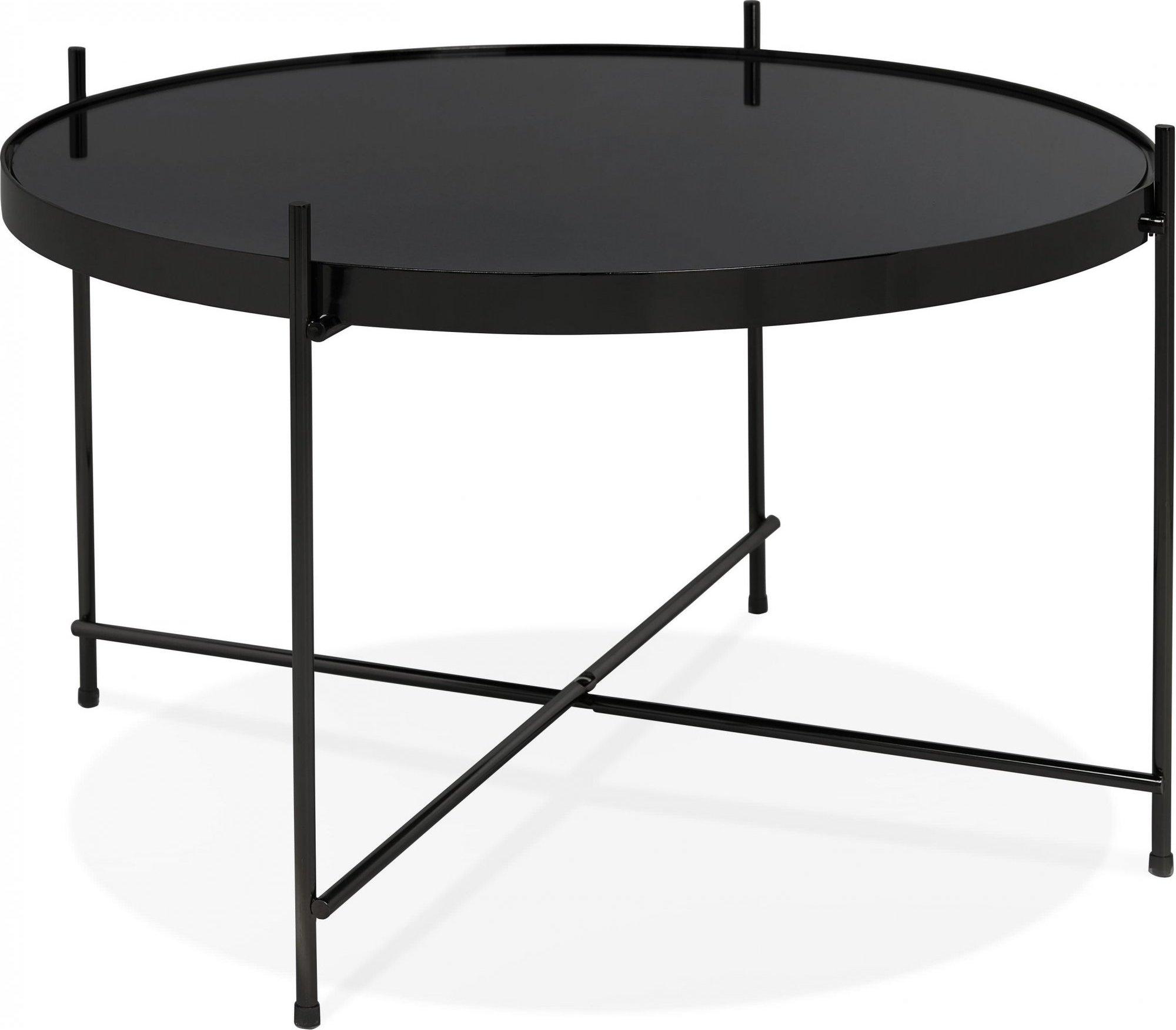 Table basse design métal et verre miroir noir d63cm