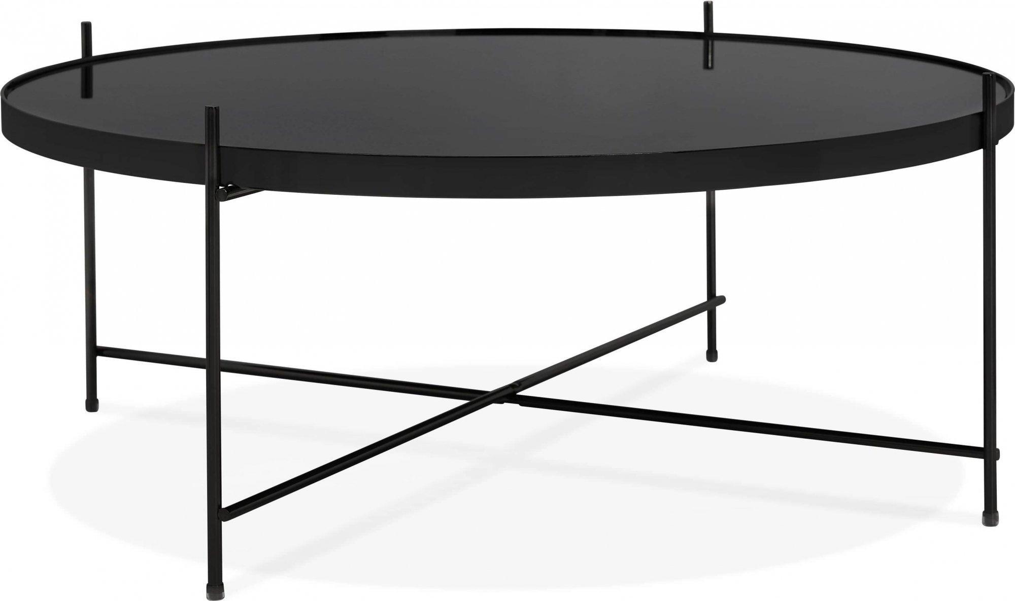 Table basse design métal et verre miroir noir d83cm