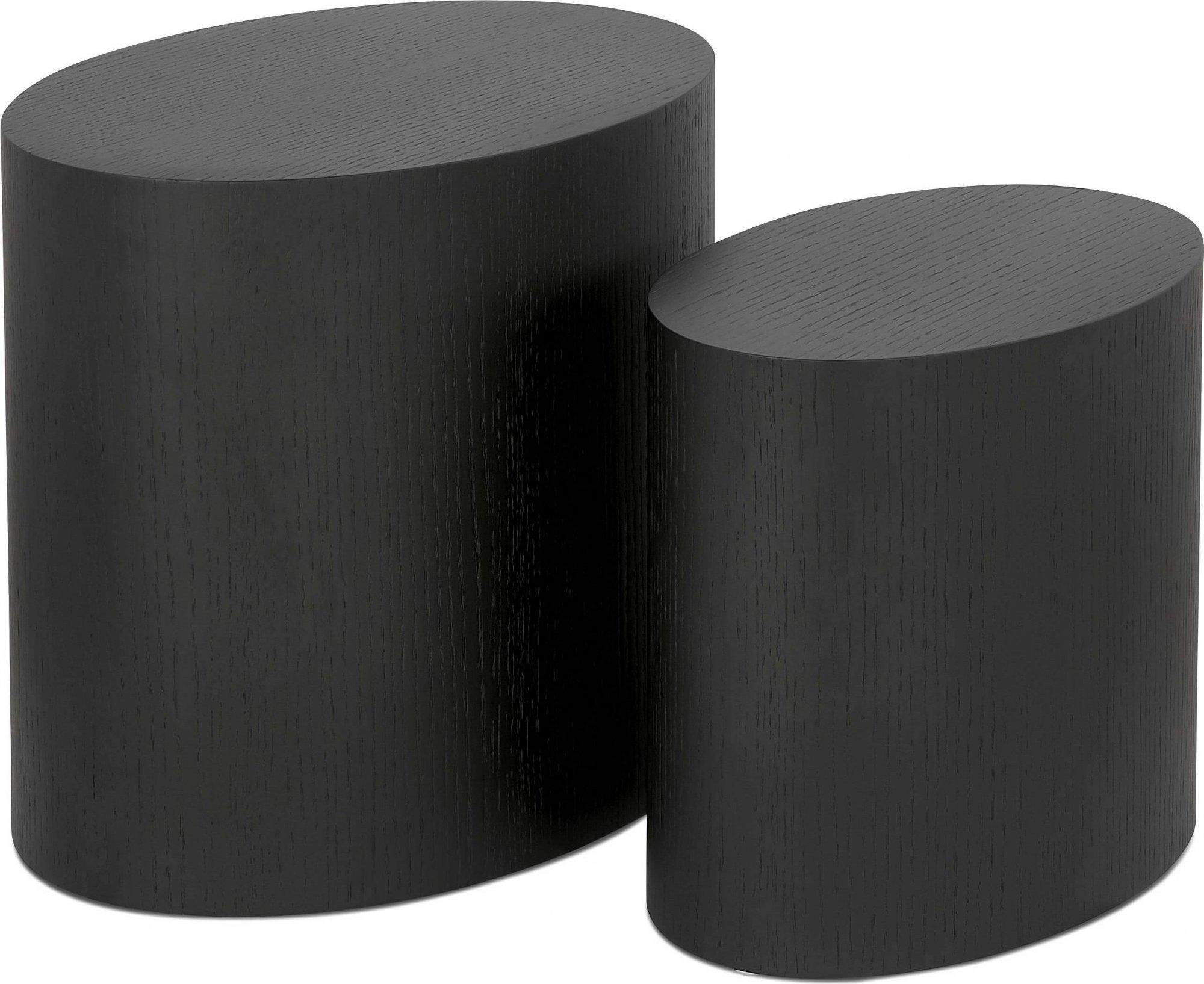 Table basse design bois couleur noir (lot de 2)