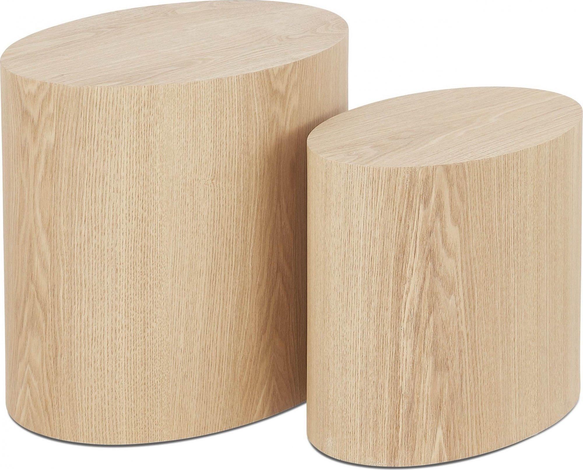 Table basse design bois couleur bois clair (lot de 2)