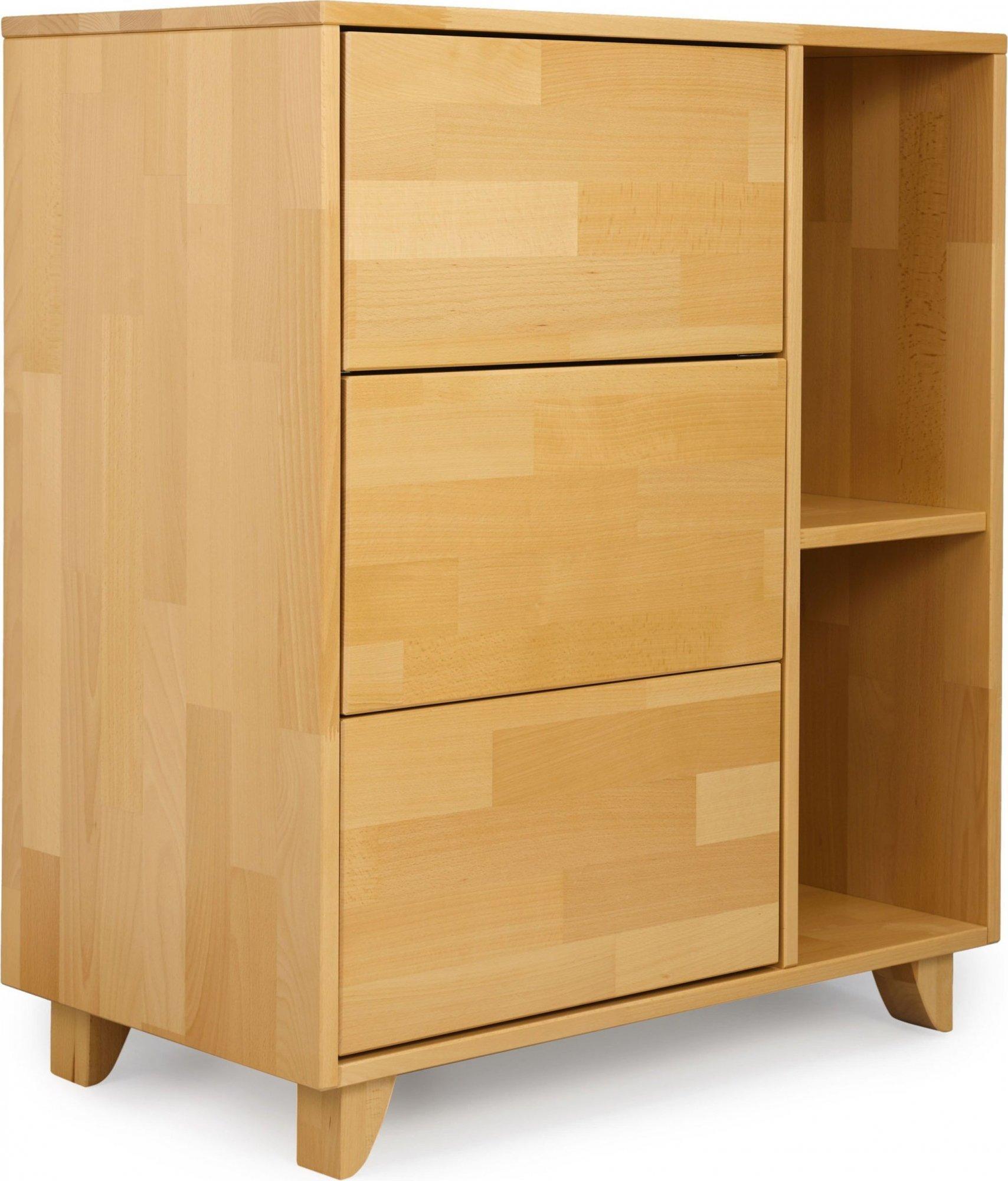 Commode en hêtre 2 niches 3 tiroirs couleur bois clair