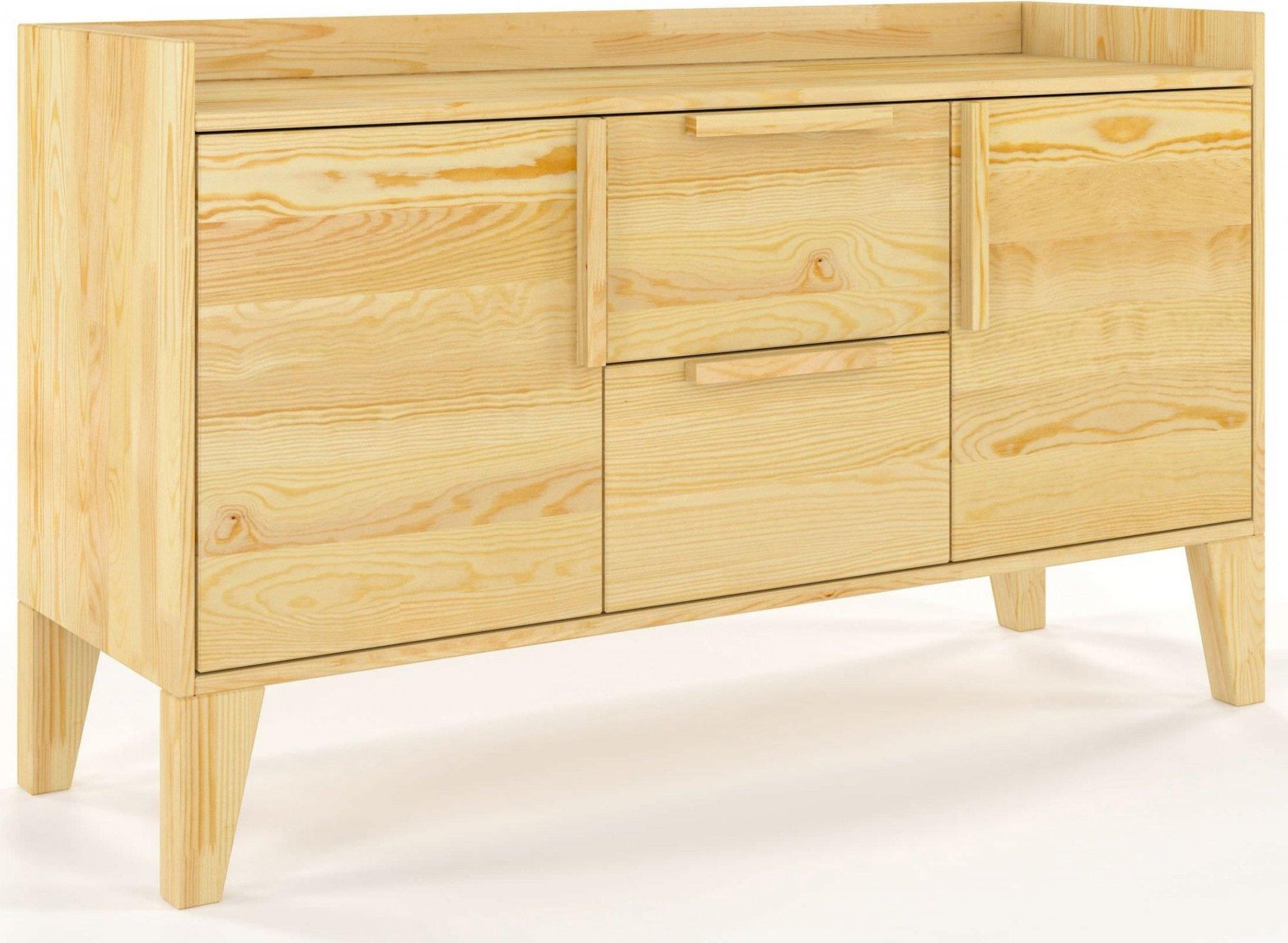 Commode 2 tiroirs 2 portes en pin massif clair