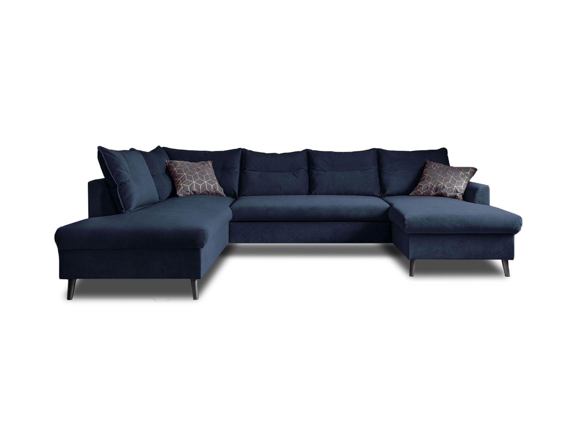 Canapé panoramique Angle gauche 7 places Tissu Bleu marine