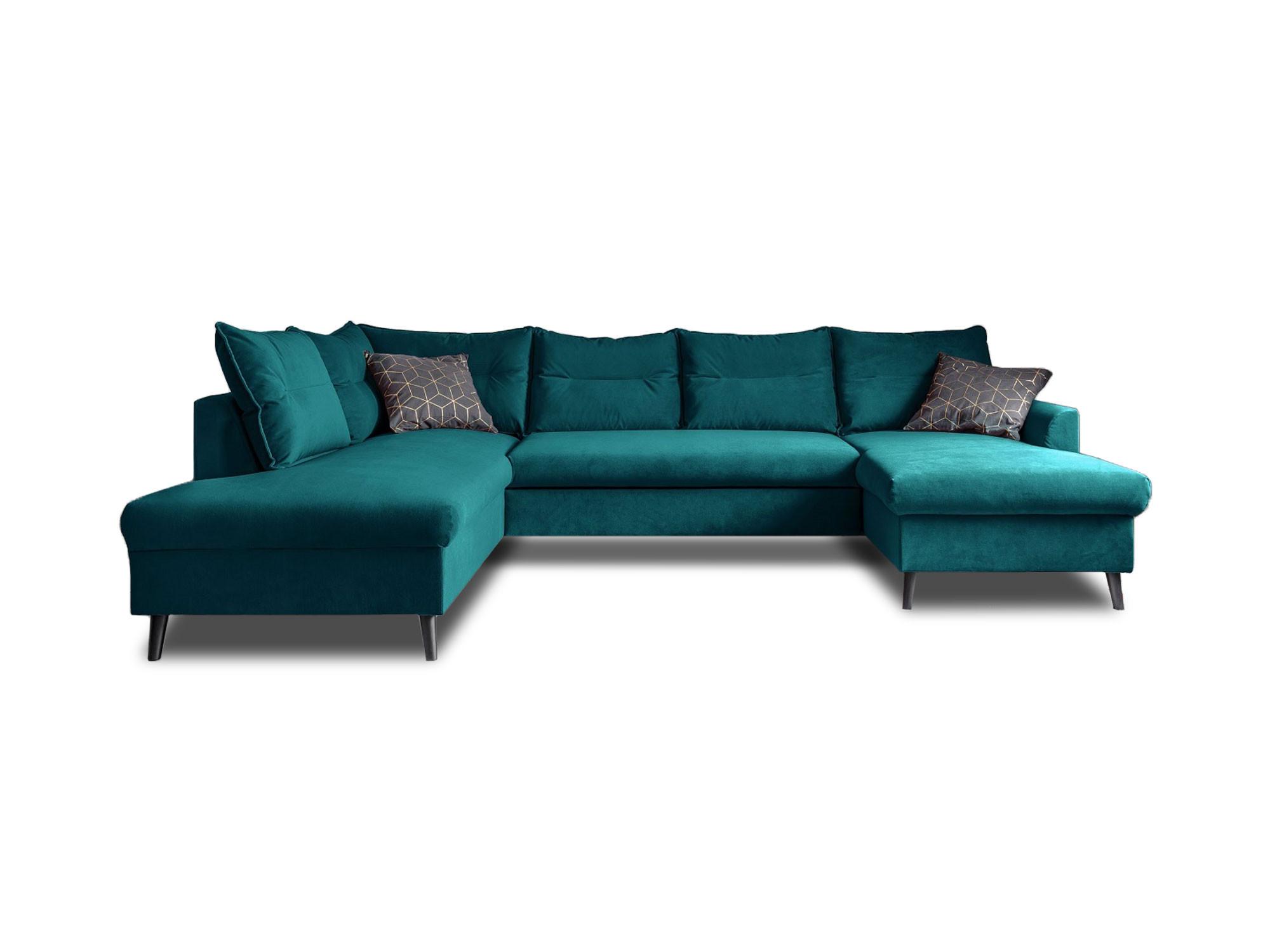 Canapé d'angle 7 places Bleu Tissu Contemporain Confort