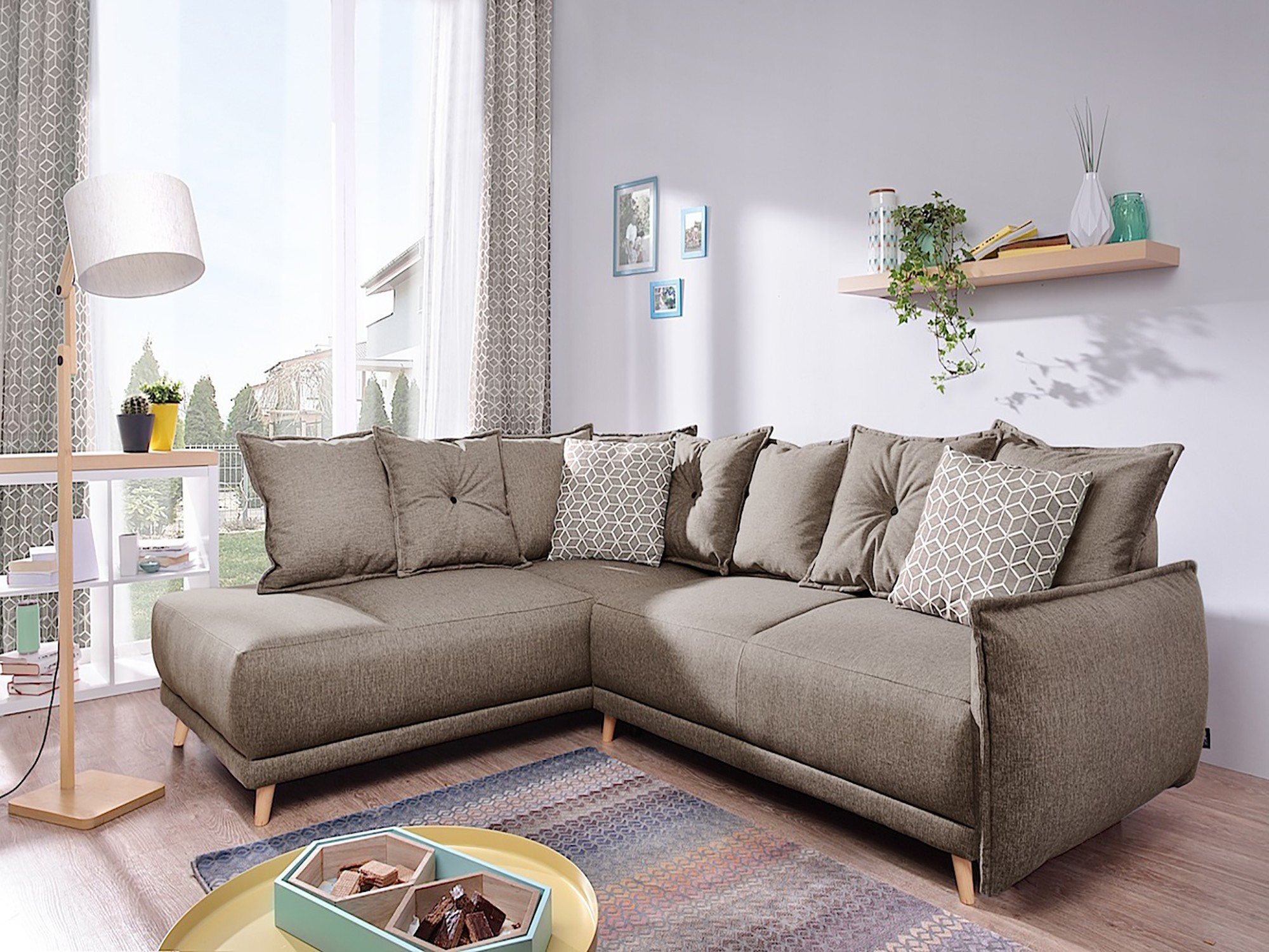 Canapé d'angle 5 places Tissu Contemporain Confort