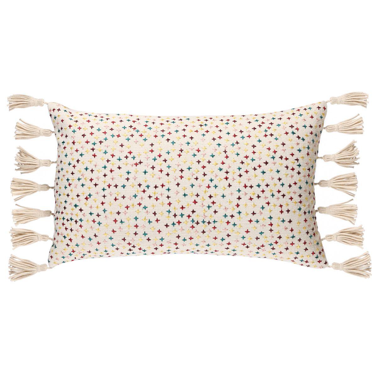Coussin en coton multicolore à franges 30 x 50 cm