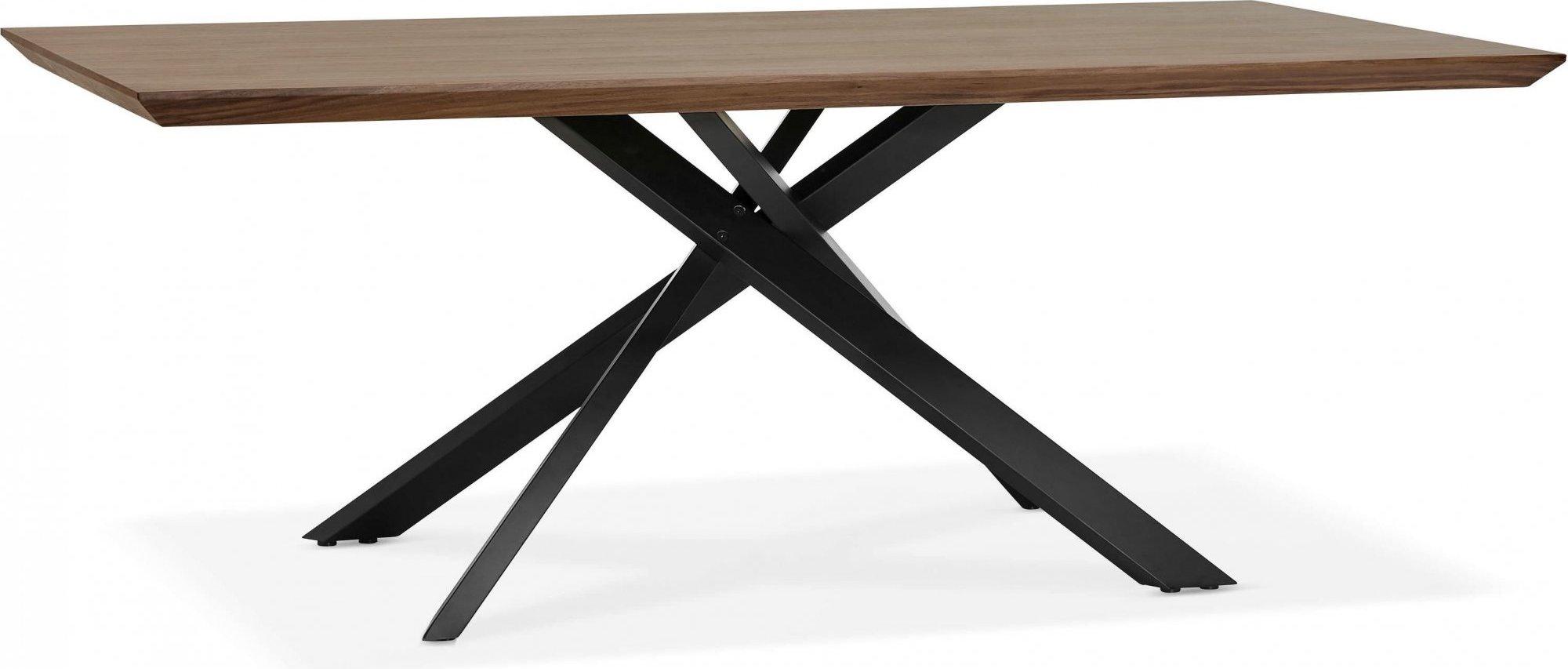 Table a diner plateau bois foncé pieds noir 8 places l200cm