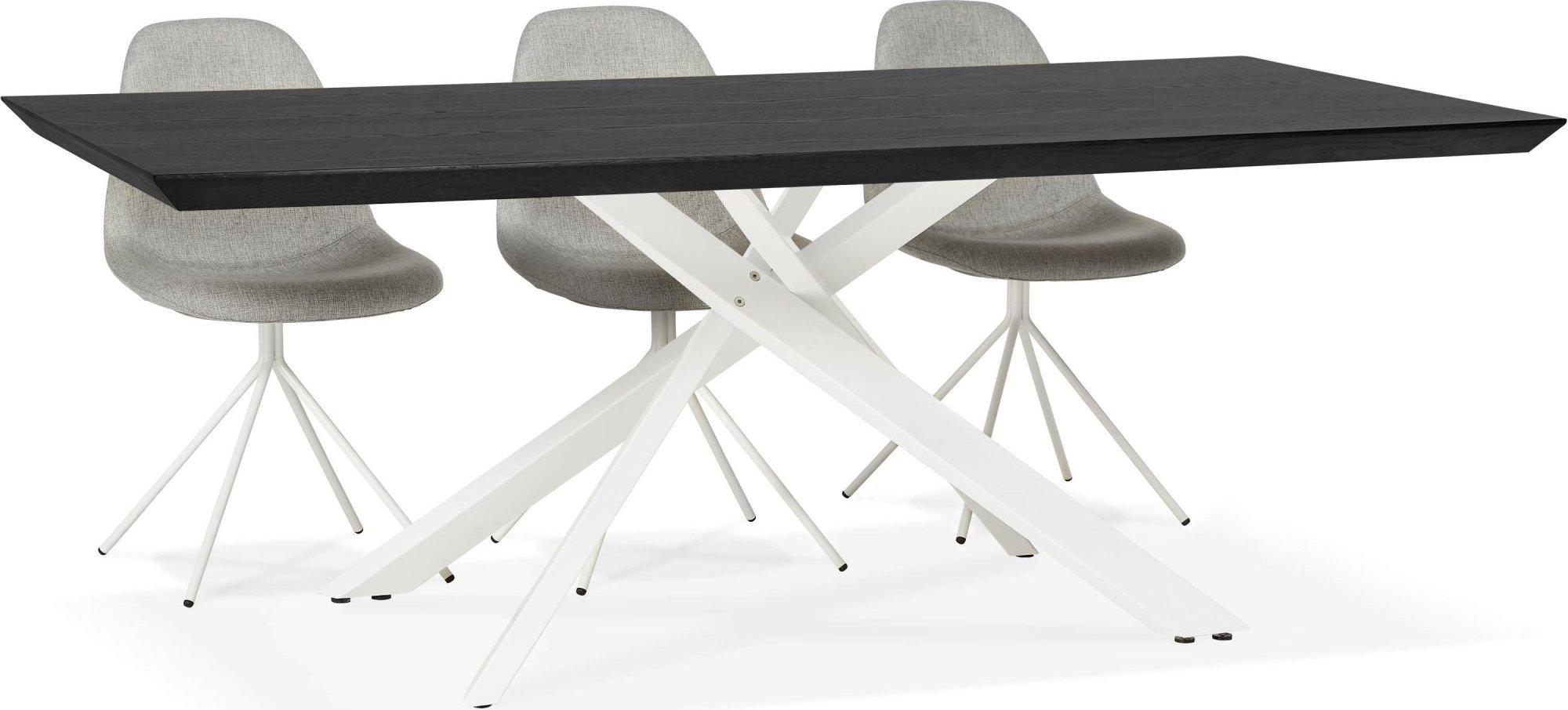 Table a diner bois noir pieds acier brossé 8 places l200cm