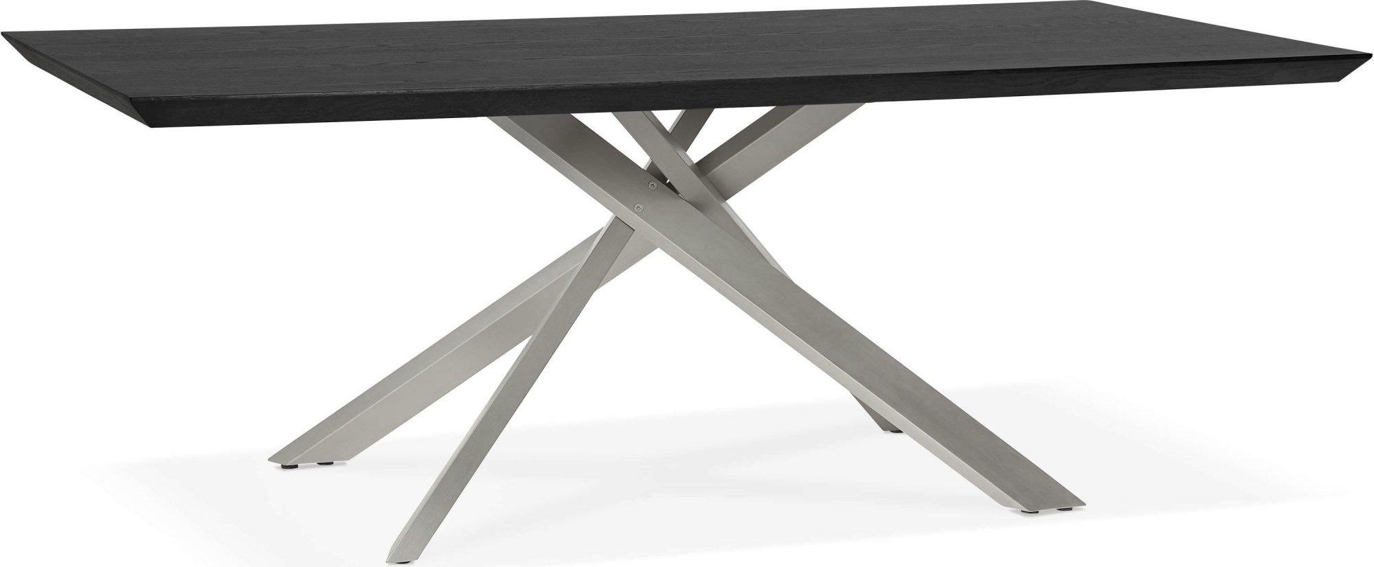 maison du monde Table a diner plateau bois noir pieds blanc 8 places l200cm