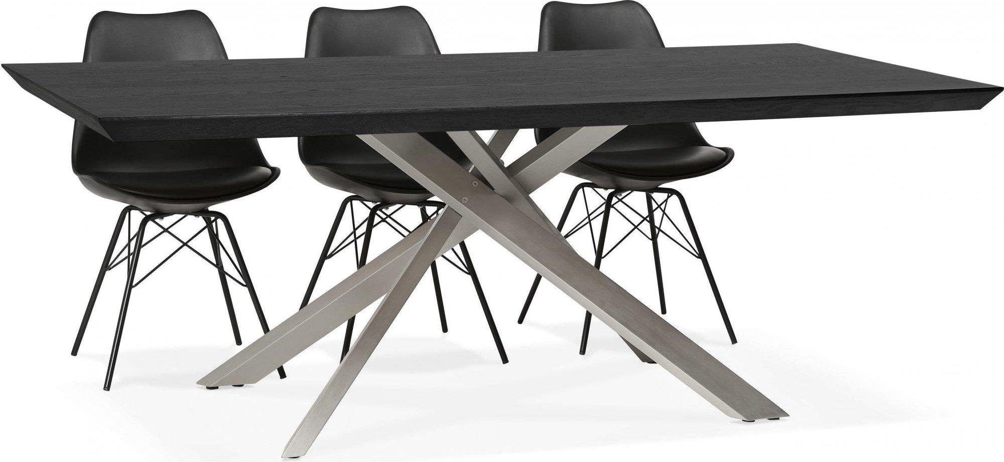 Table a diner plateau bois noir pieds blanc 8 places l200cm
