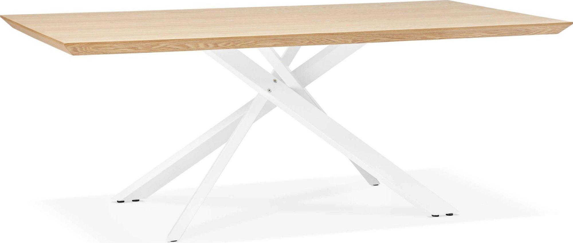 Table a diner plateau bois clair pieds blanc 8 places l200cm