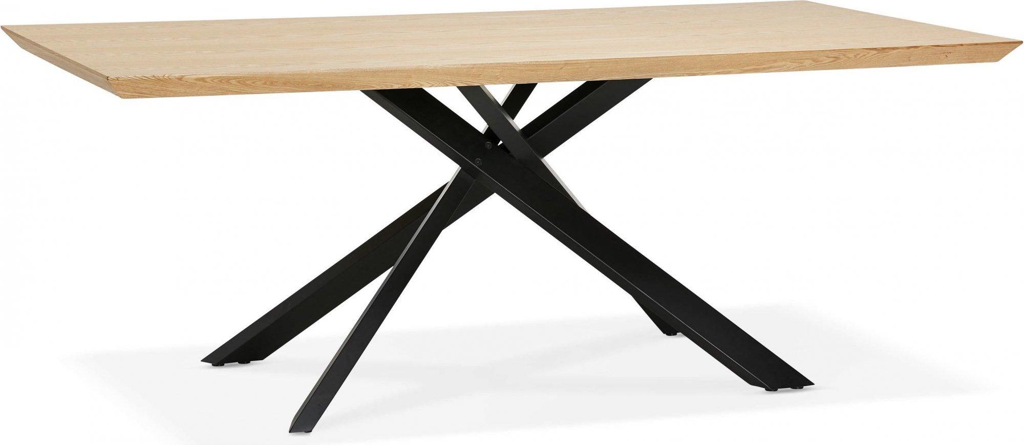 Table a diner plateau bois clair pieds noir 8 places l200cm