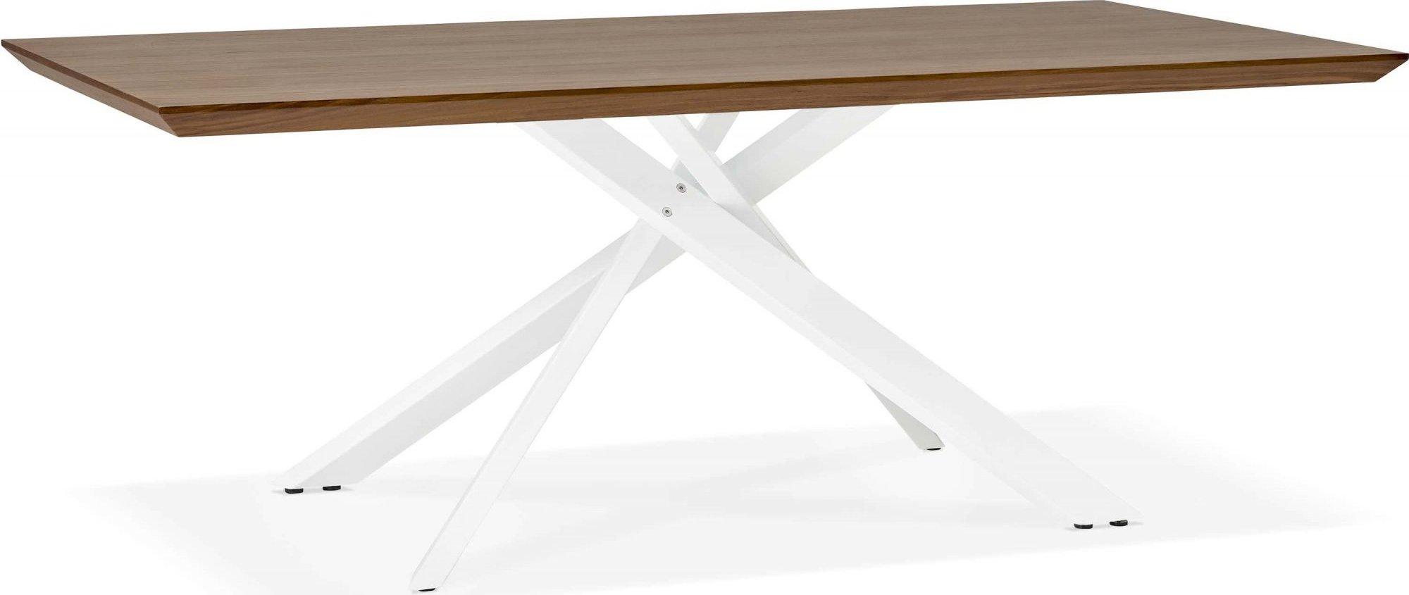 Table a diner plateau bois foncé pieds blanc 8 places l200cm