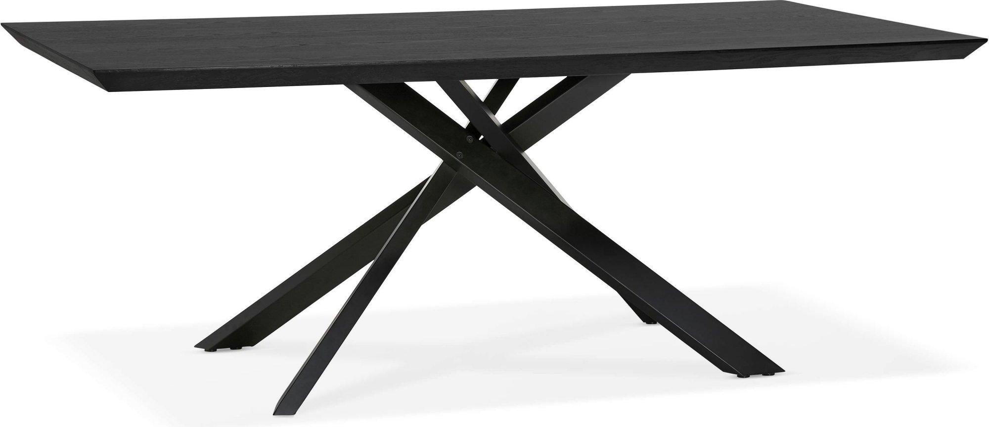 Table a diner plateau bois noir pieds noir 8 places l200cm