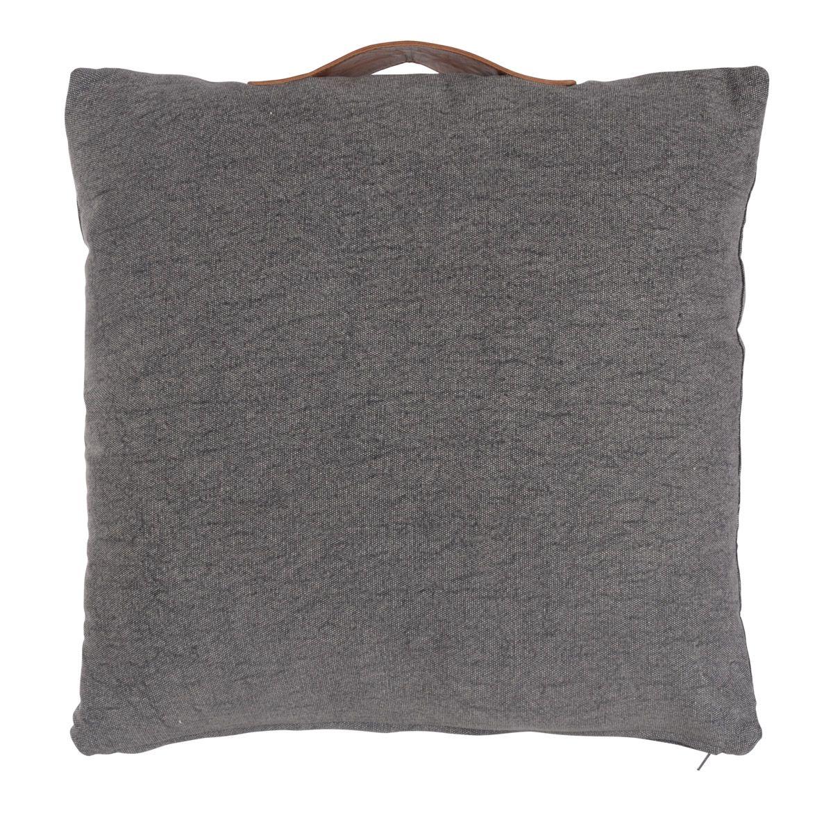 Coussin de sol coton et cuir carré 50 cm  gris (photo)