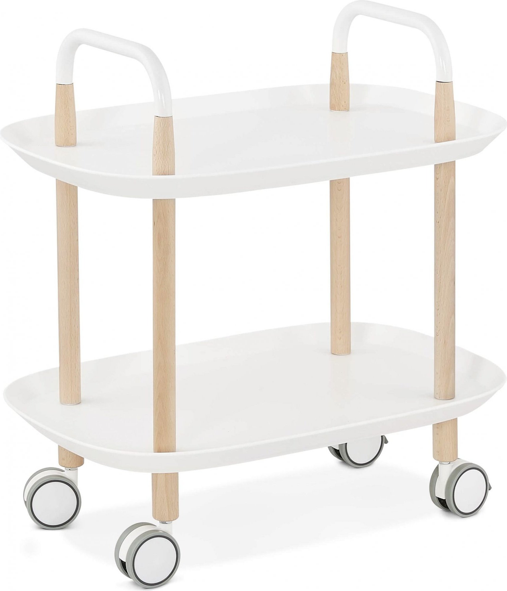 Table basse desserte sur roulette blanc et bois clair