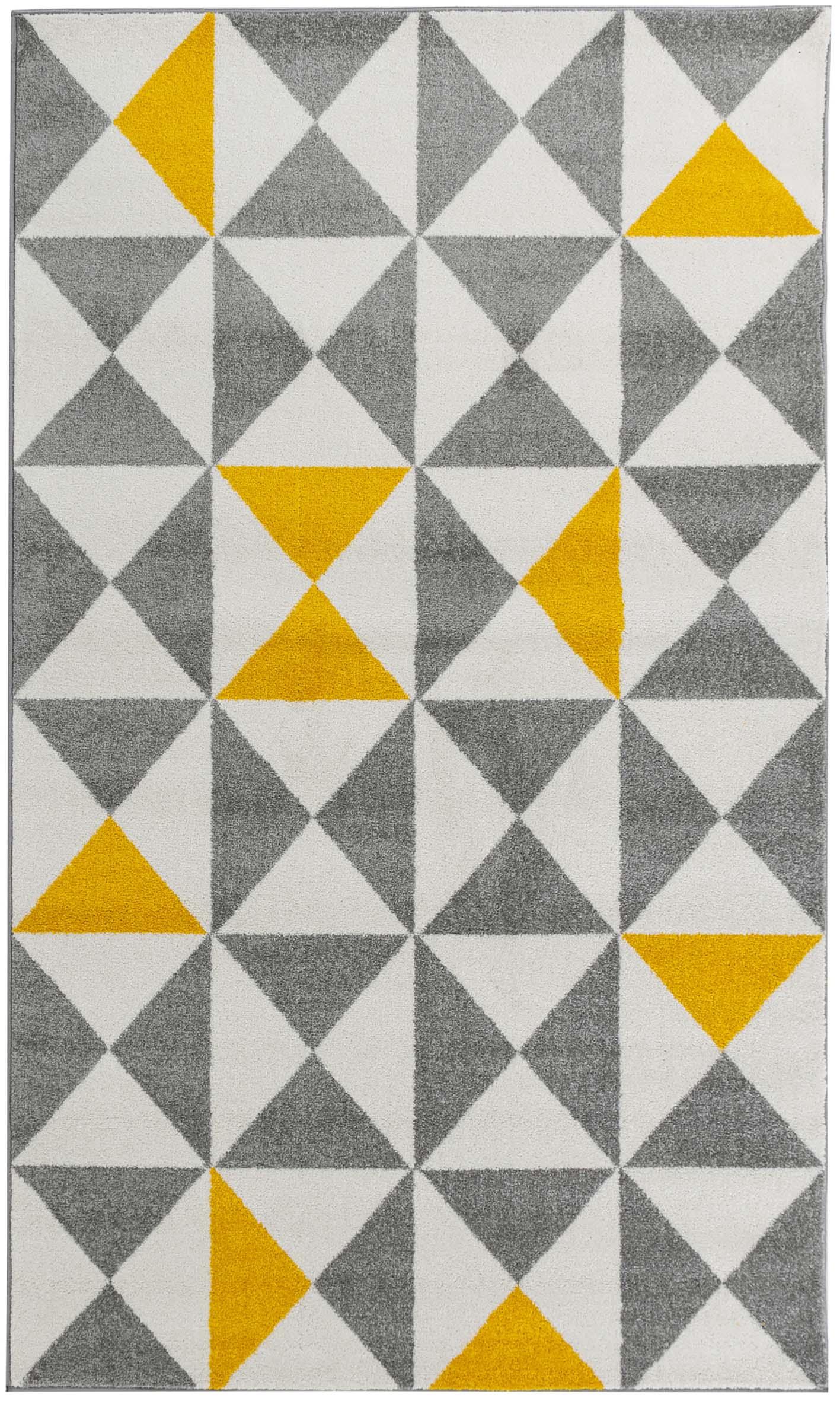 FORSA - Tapis géométrique jaune 60x110cm