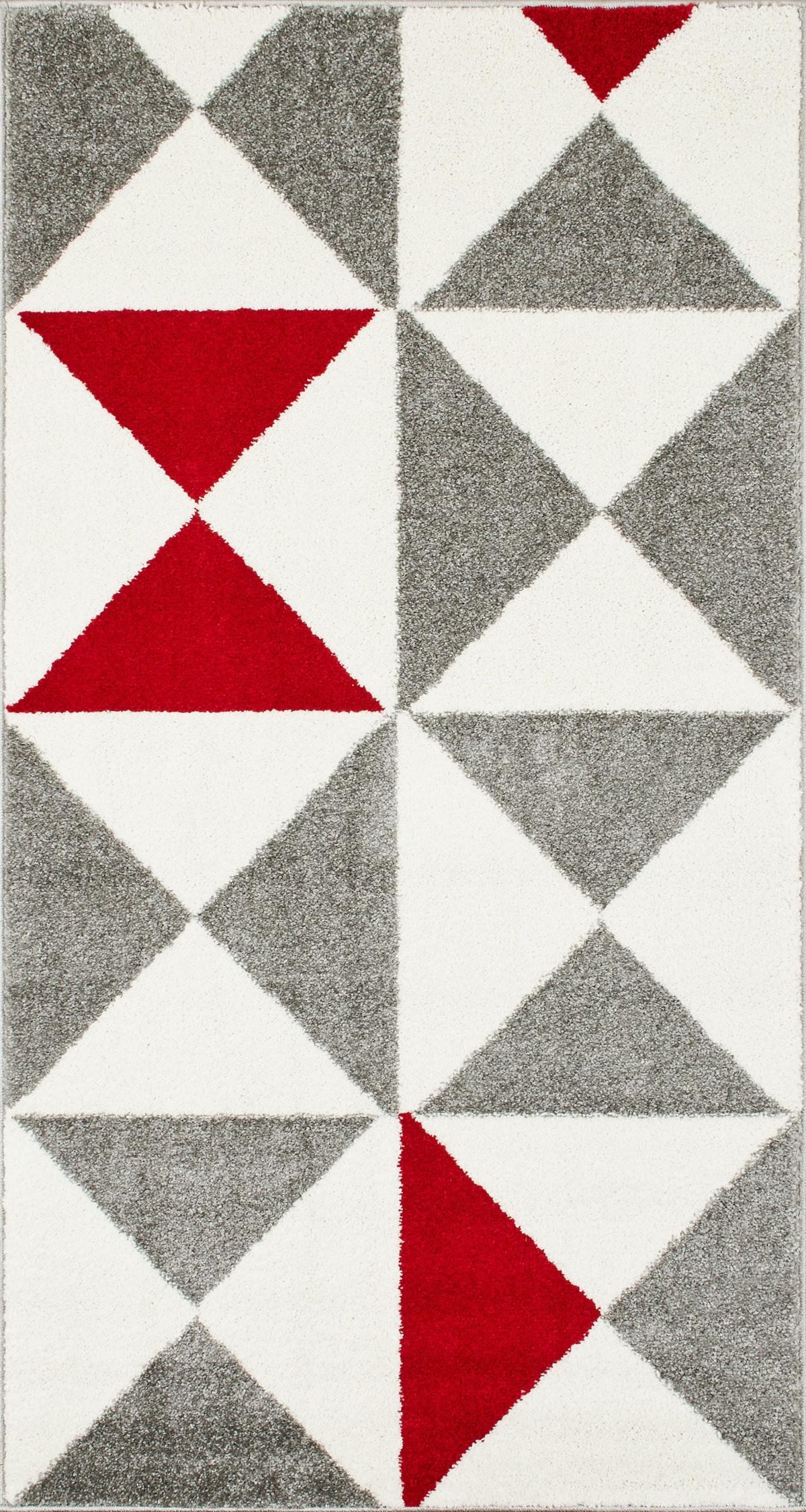 FORSA - Tapis géométrique rouge 80x150cm