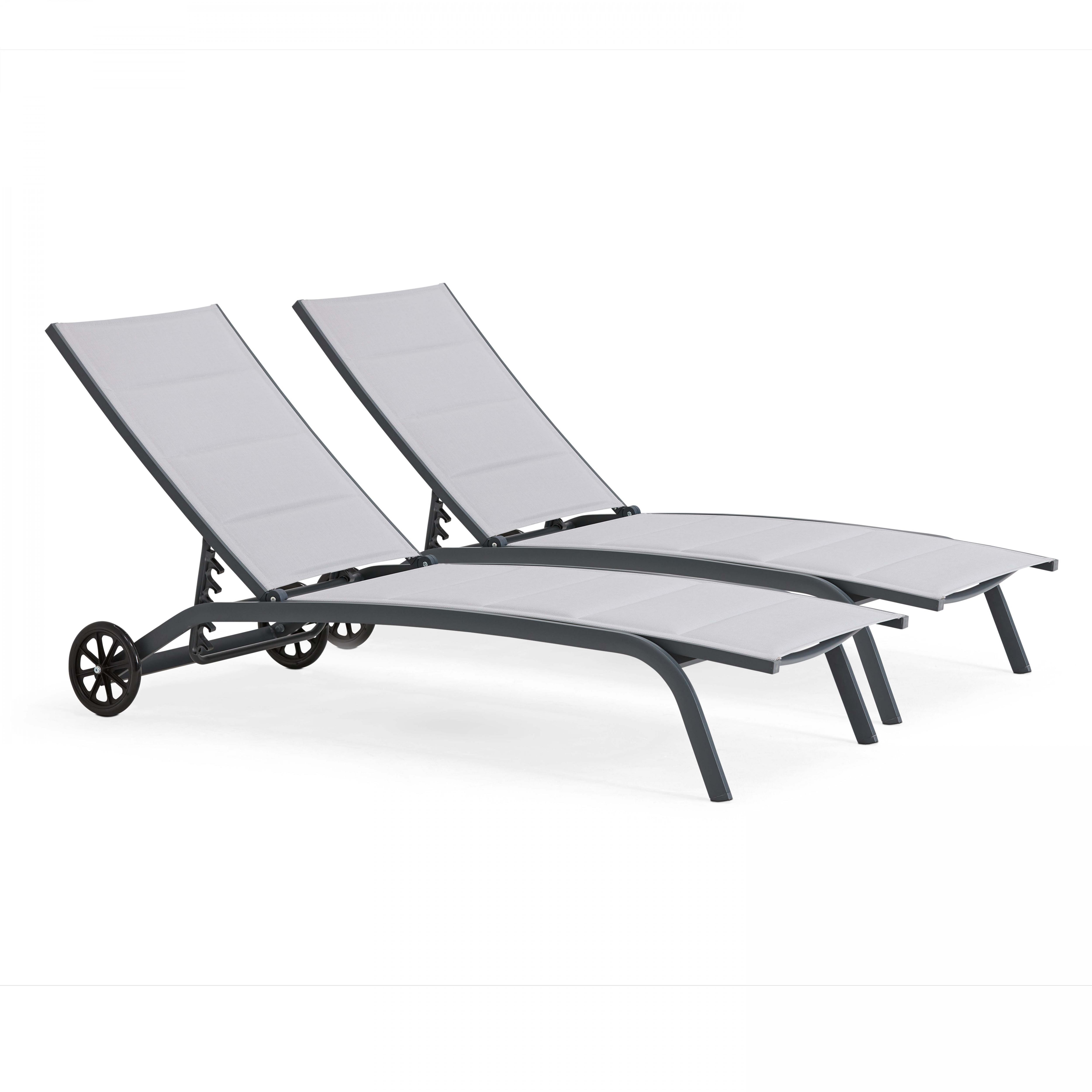 Lot de 2 bains de soleil en aluminium et textilène gris