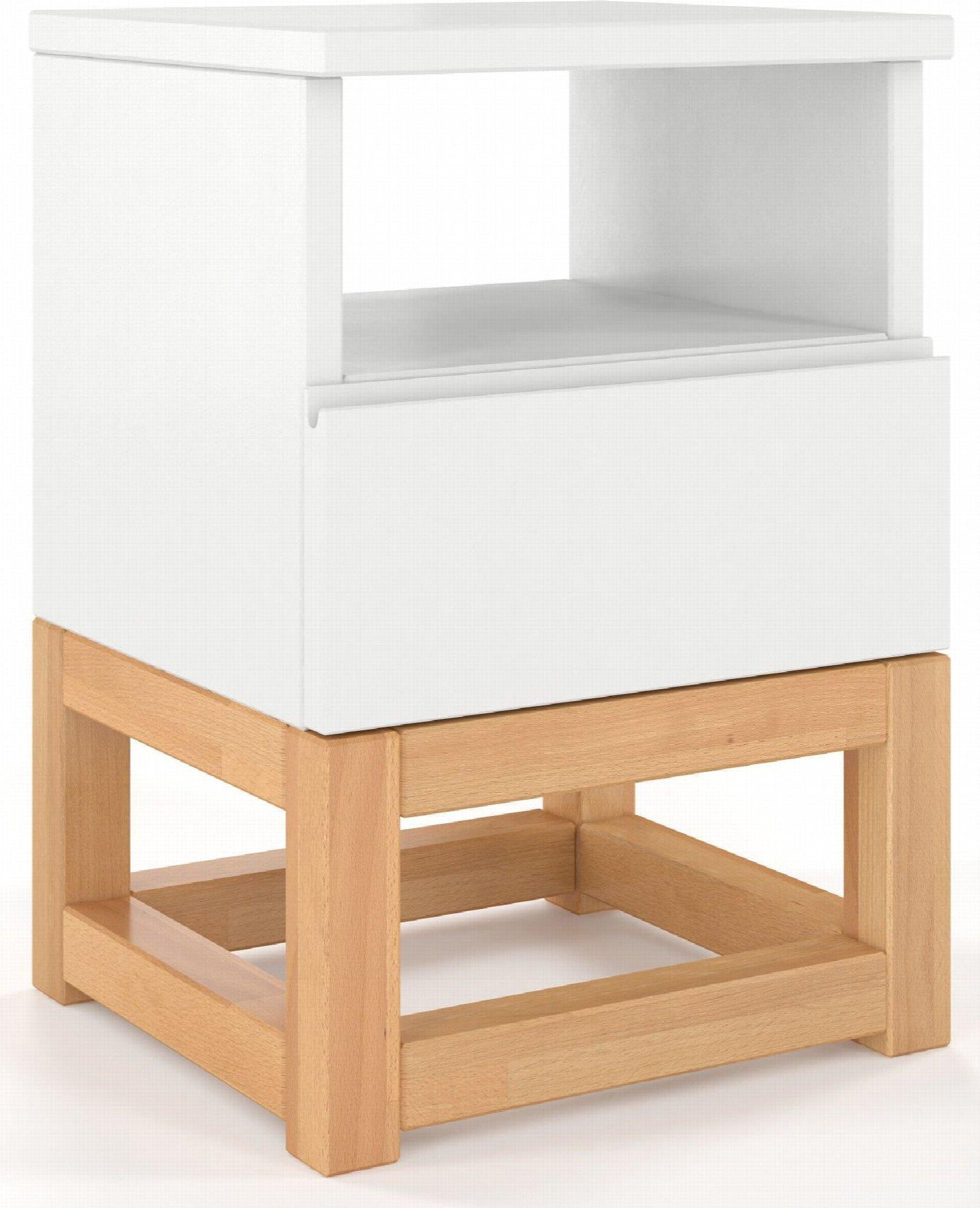 Table de chevet 1 niche 1 tiroir couleur blanc et bois clair (photo)