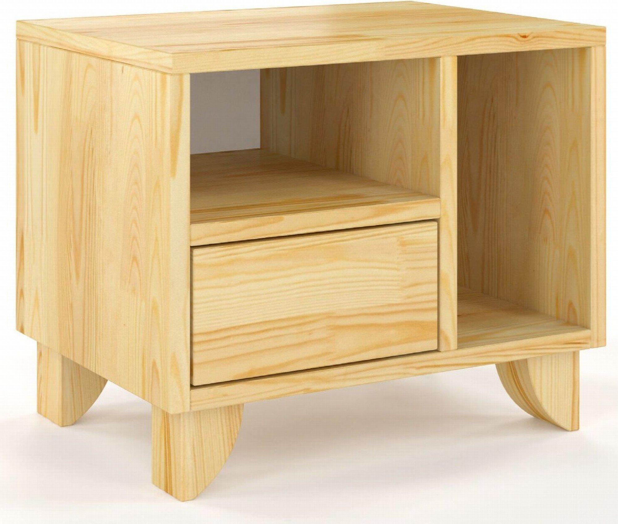 Table de chevet 2 niches 1 tiroir en pin massif bois clair