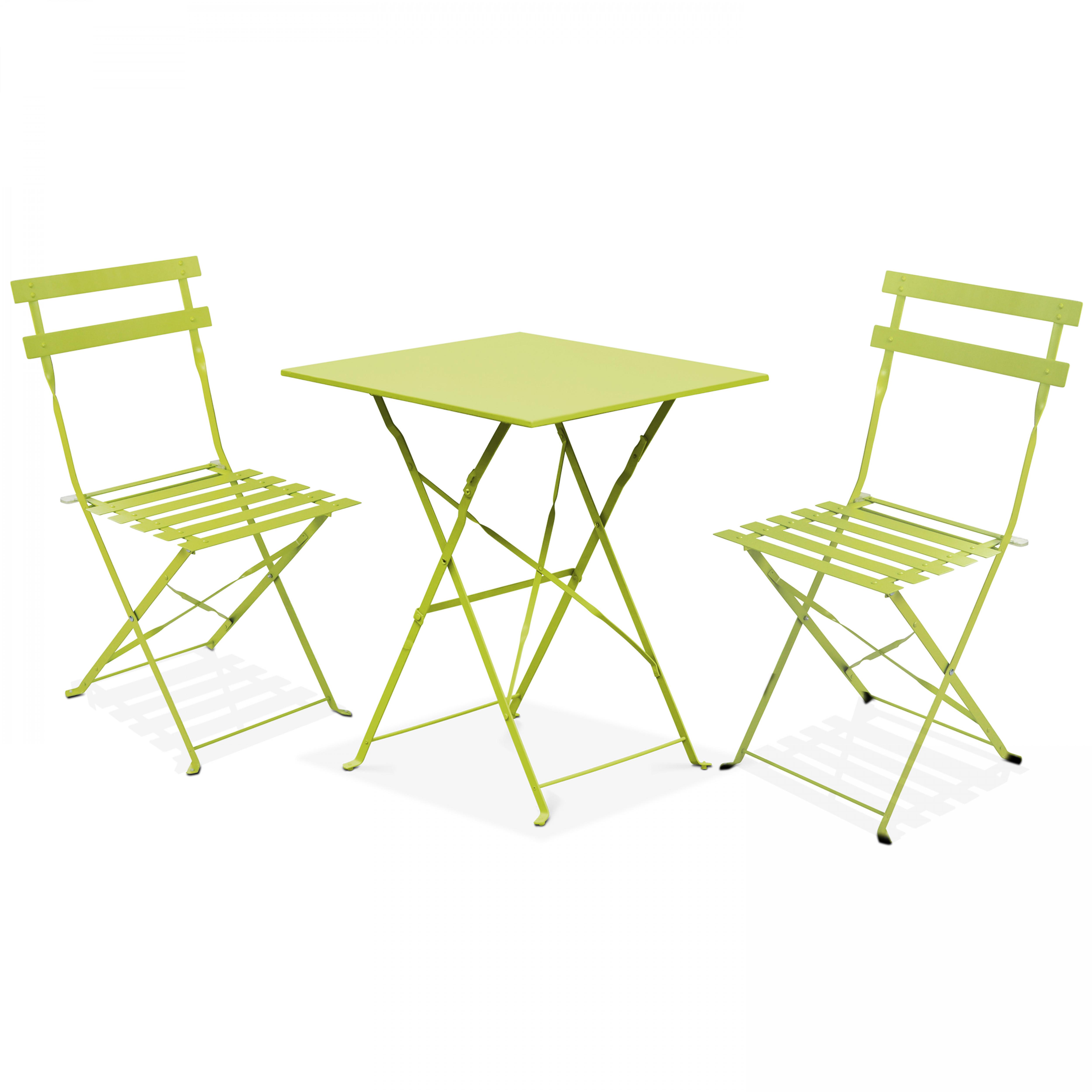 Table bistrot de jardin et 2 chaises pliantes vert