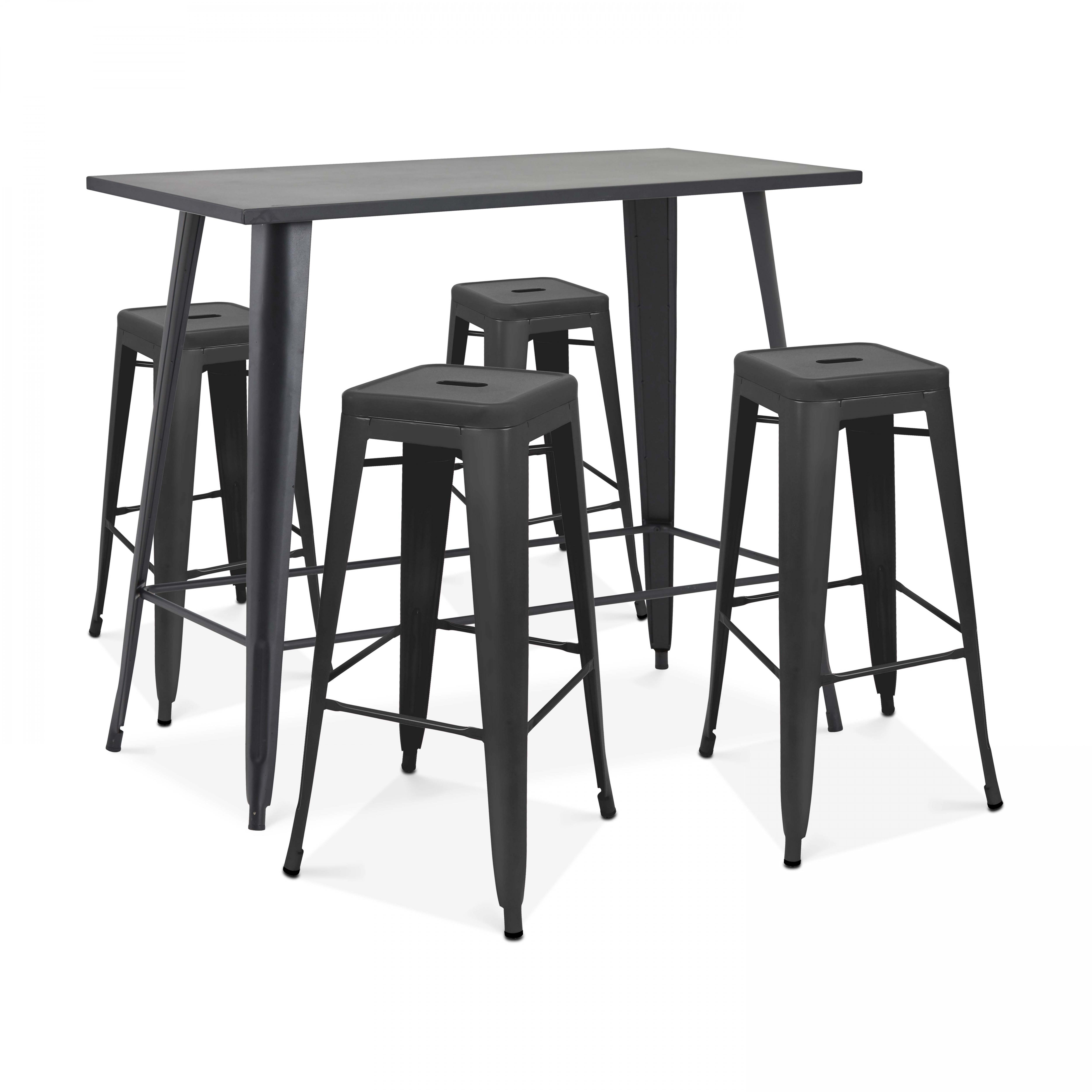 Table haute de jardin et 4 tabourets en métal noir mat