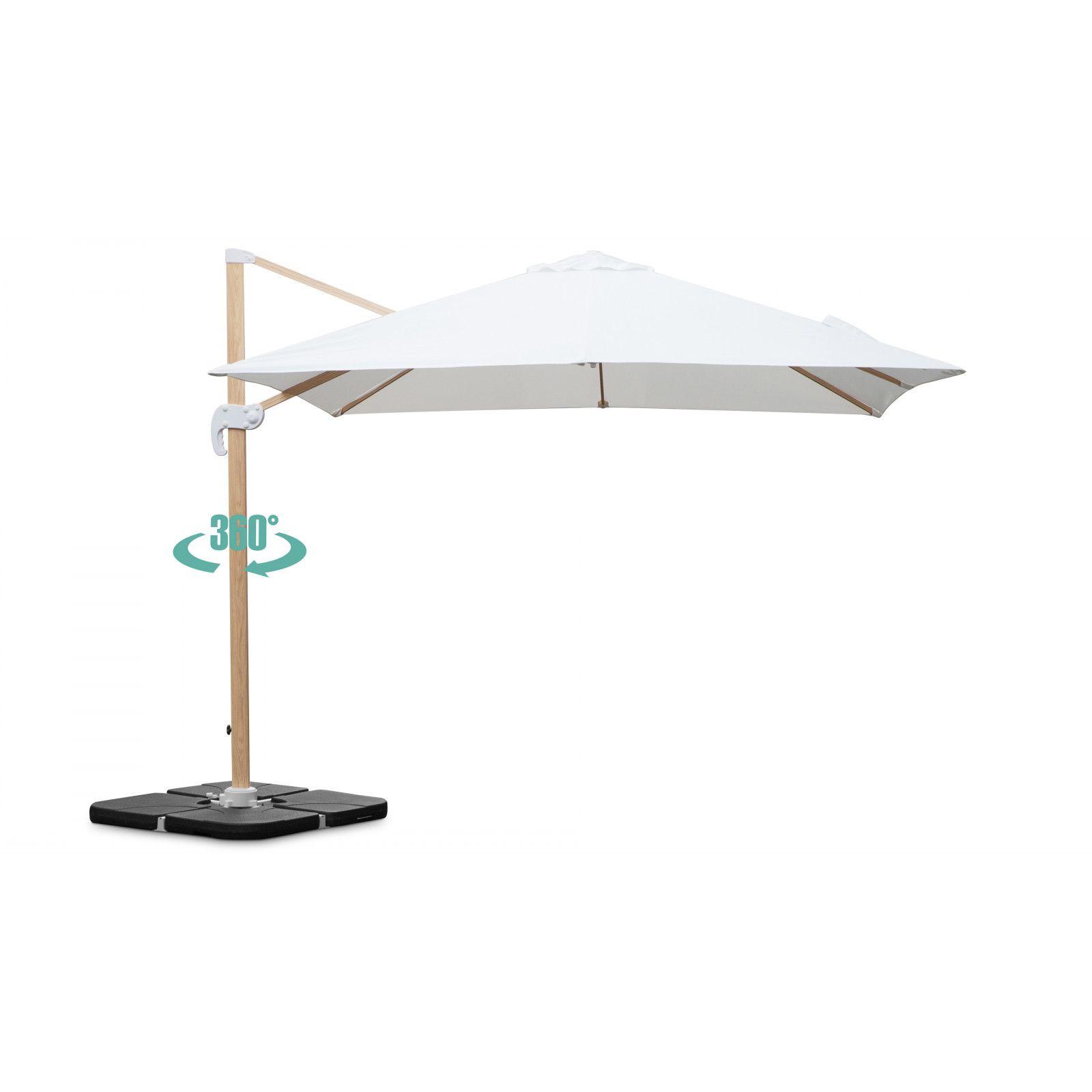 Parasol déporté carré 3x3m en aluminium effet bois écru