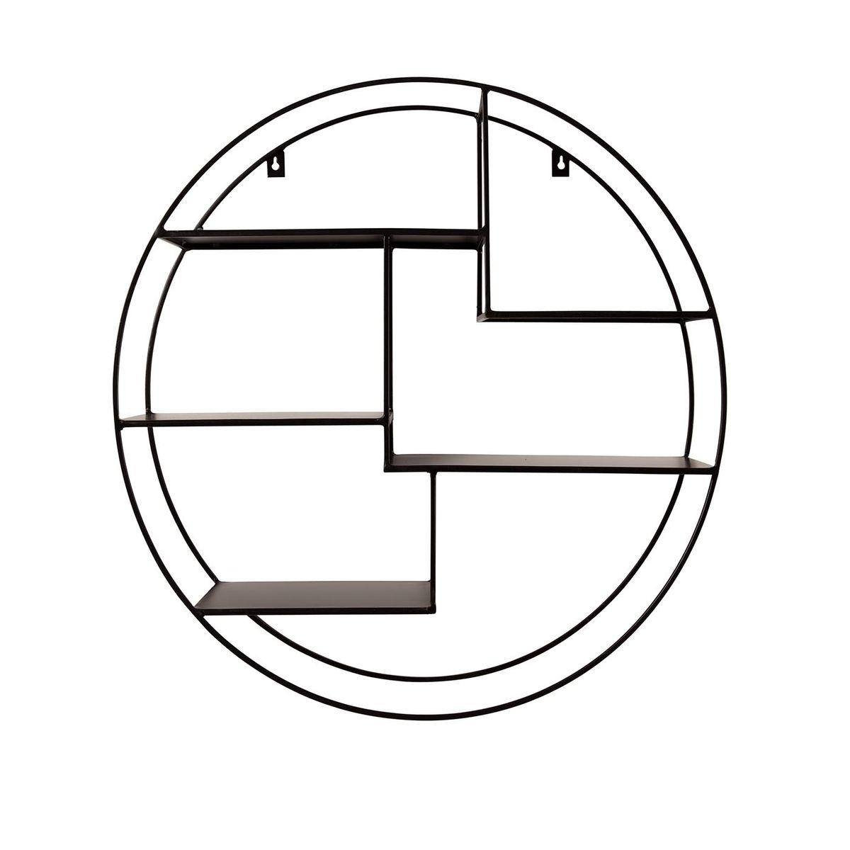 Etagère murale ronde en métal 5 niches