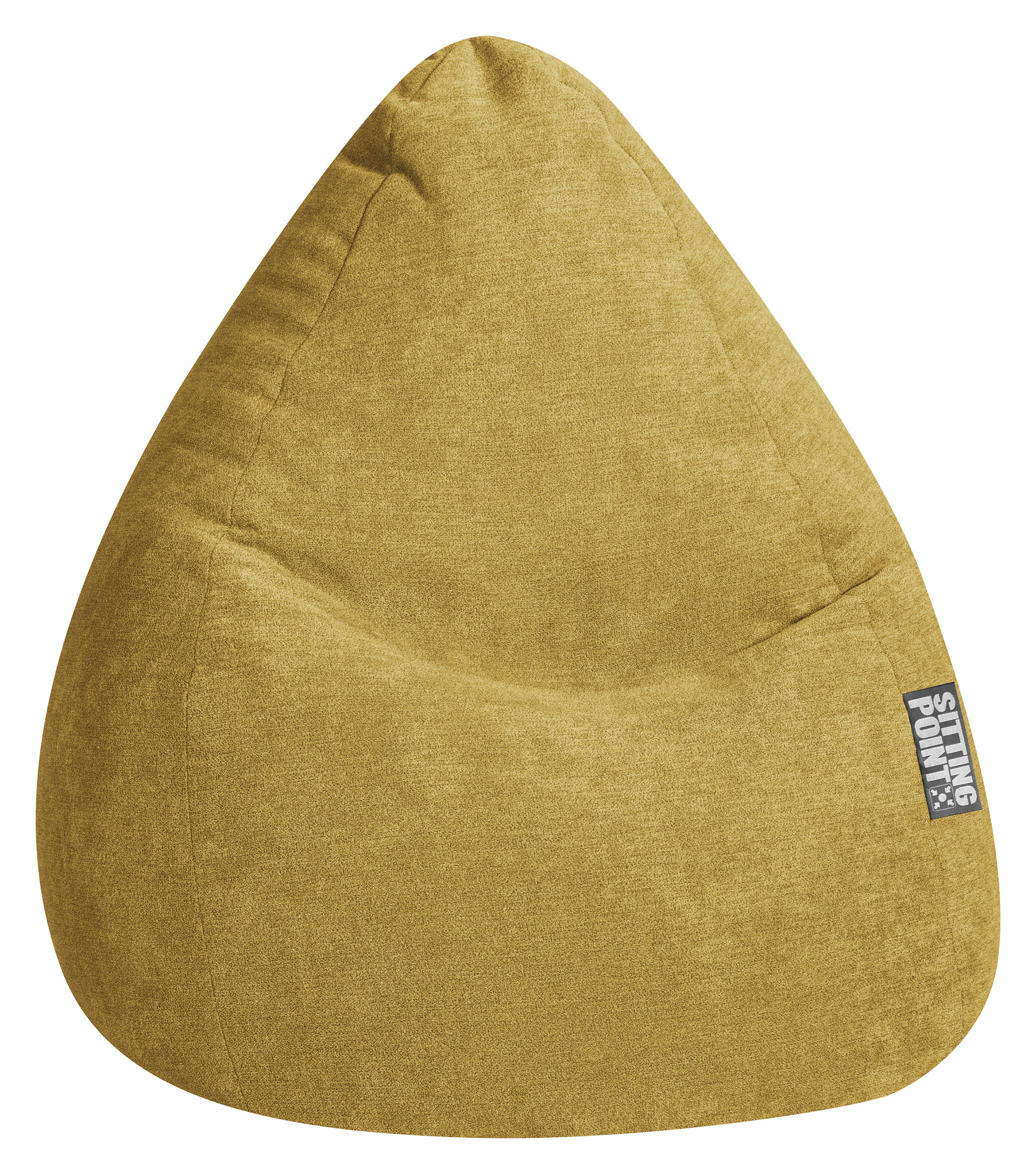 Pouf design d'intérieur en velours moutarde