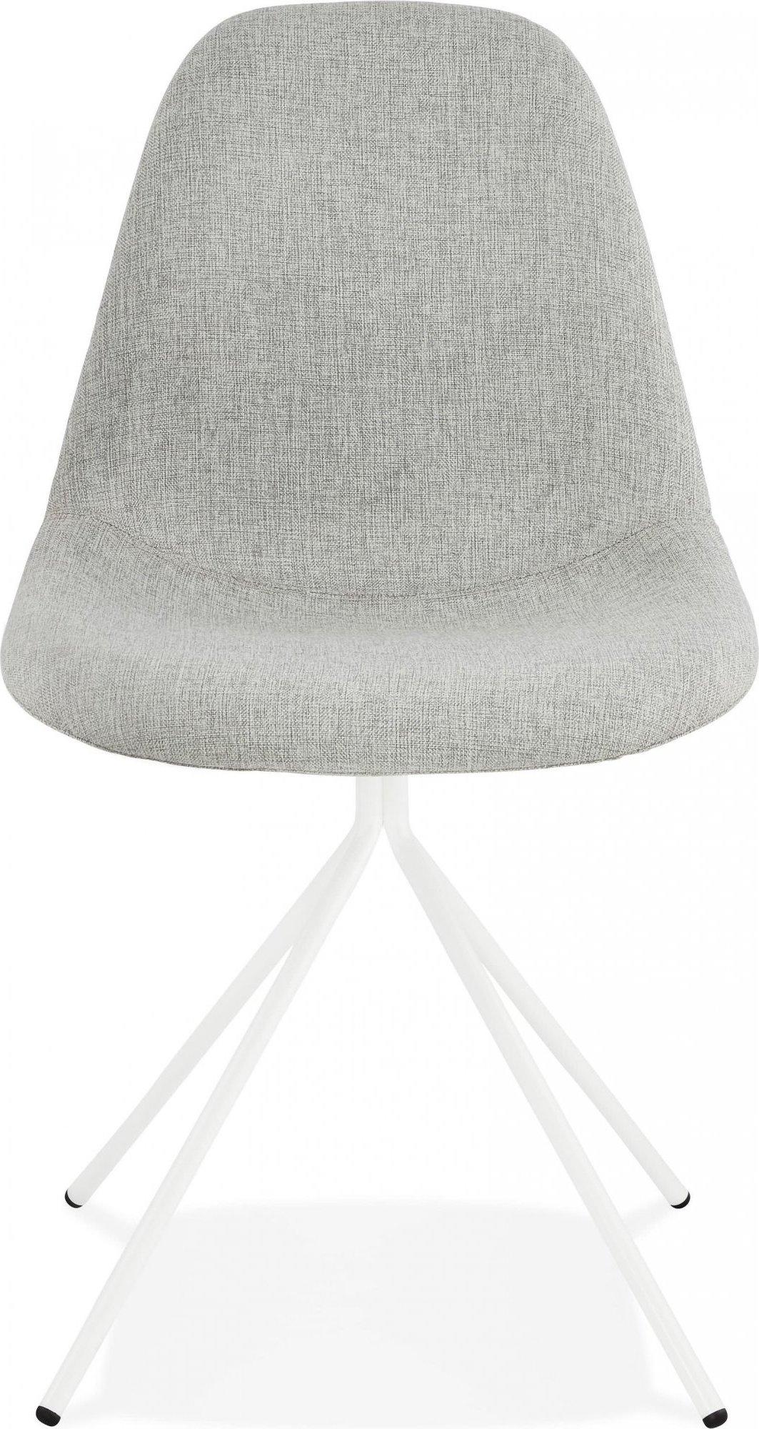 Chaise de cuisine rembourrée couleur gris pieds blanc
