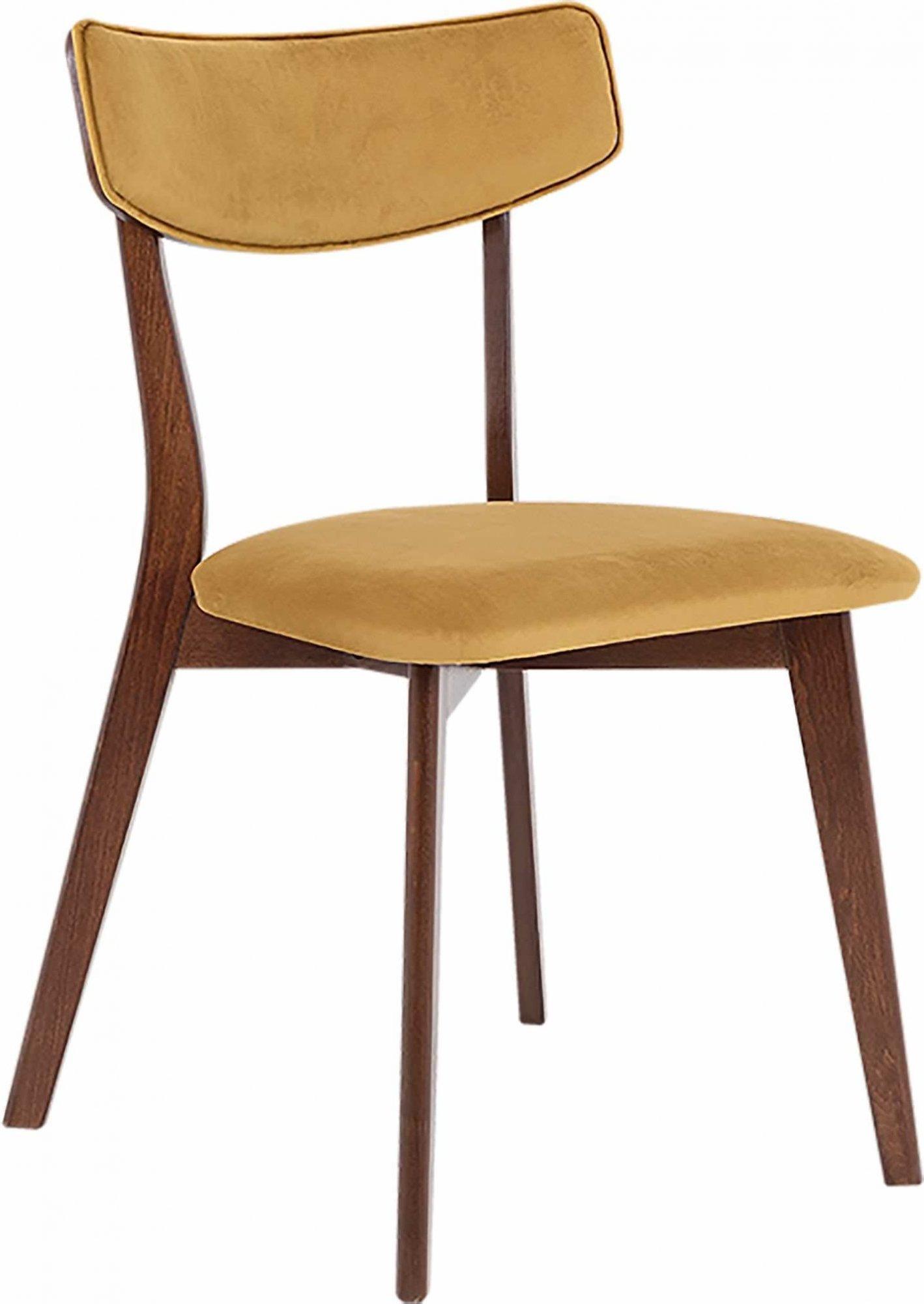 maison du monde Chaise design tradition velours marron clair pieds noyer