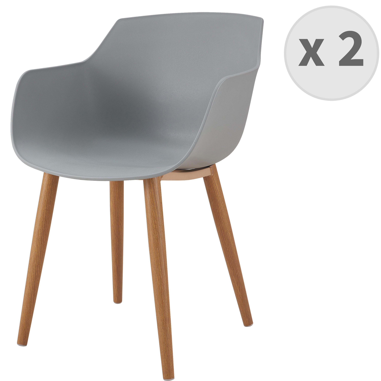Chaise scandinave gris pied métal effet bois (x2)