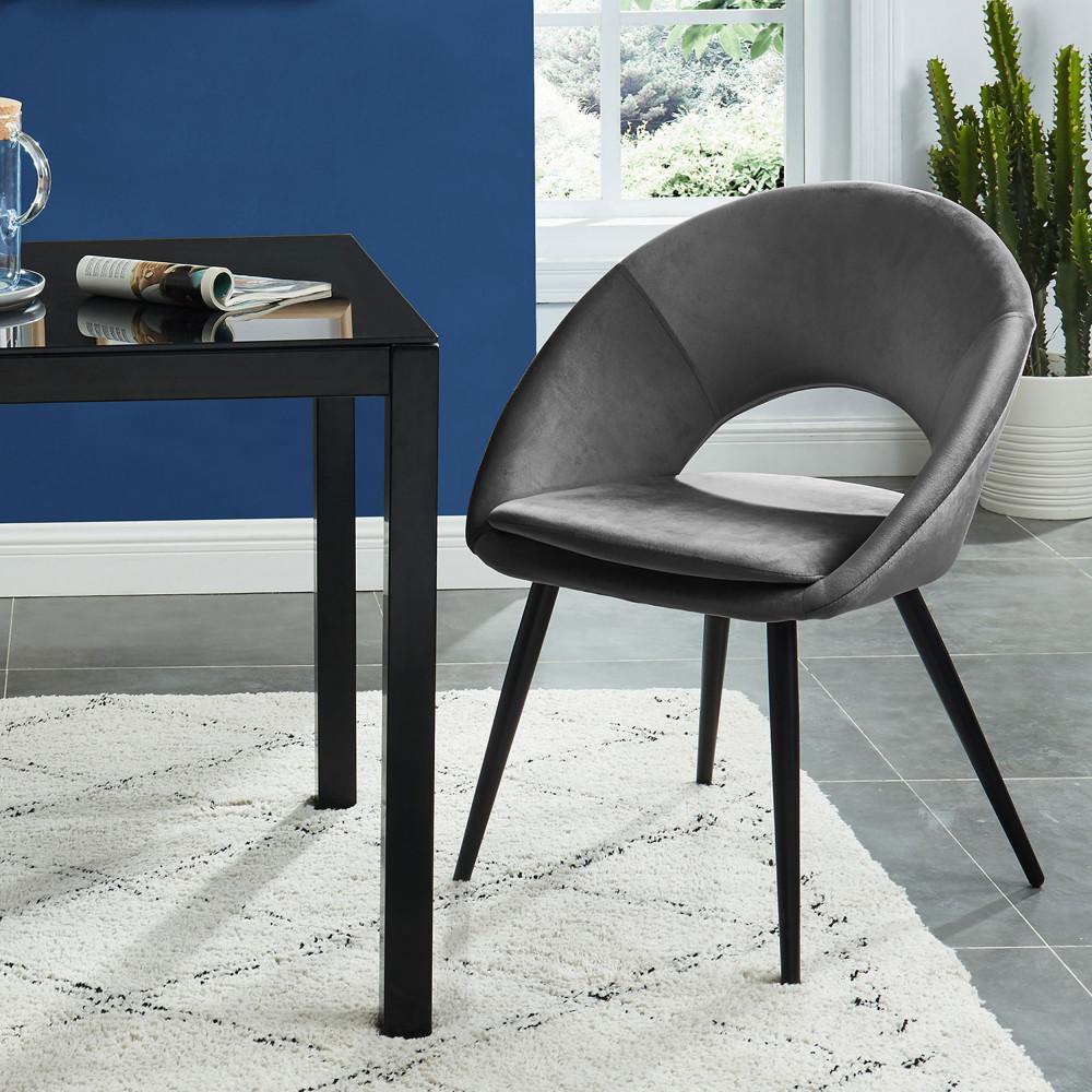 Fauteuil de table en velours gris