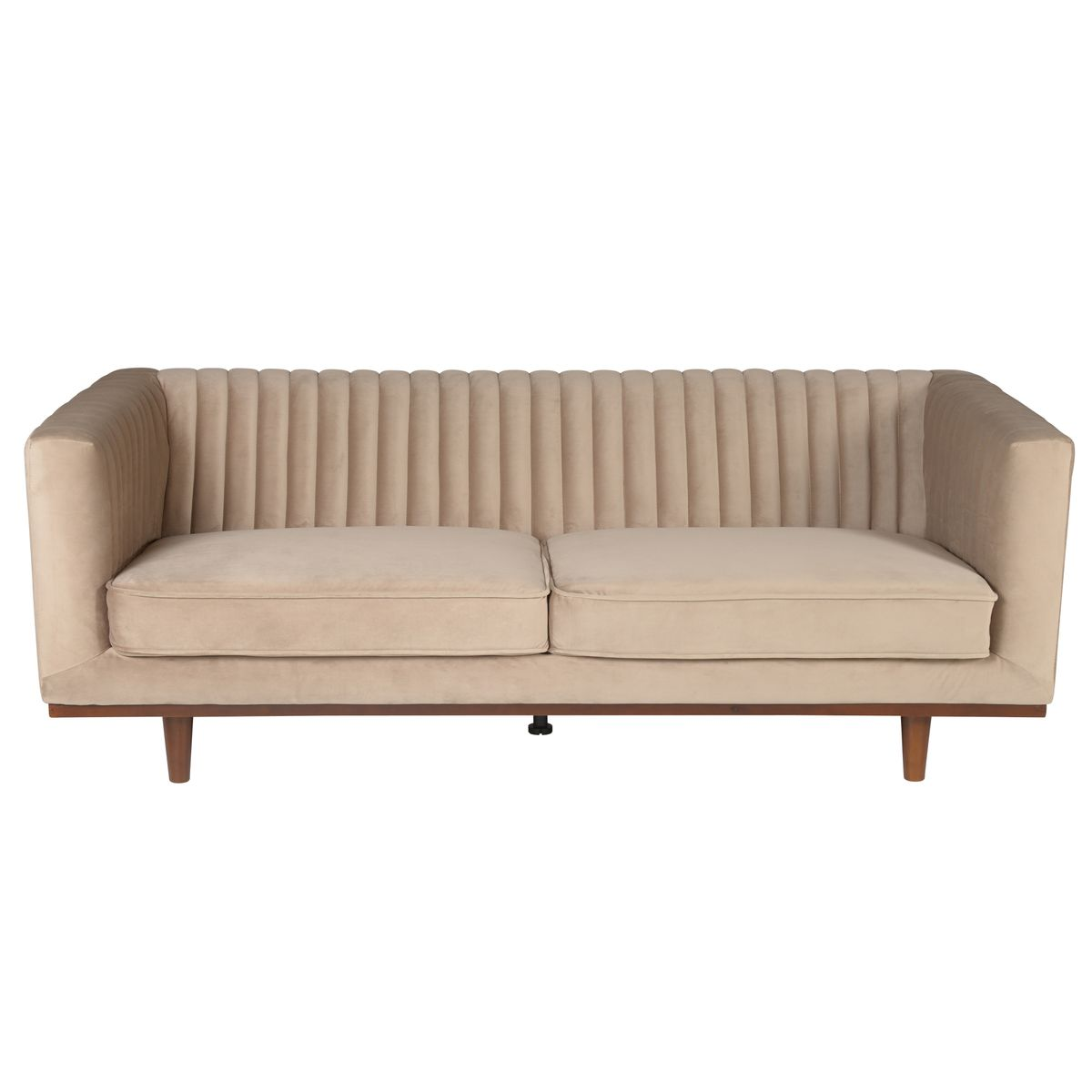 Canapé droit 3 places Beige Velours Contemporain Confort