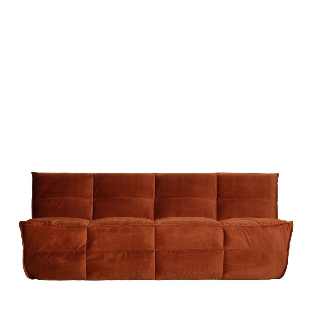 Canapé 3 places en velours rouille
