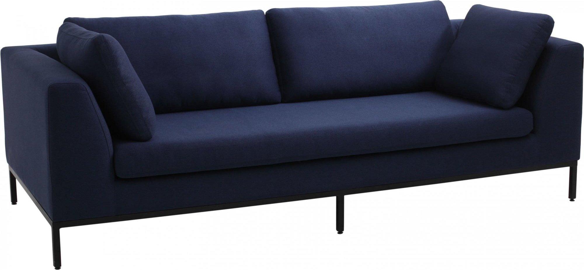 Canapé 3 places tissu bleu h42cm