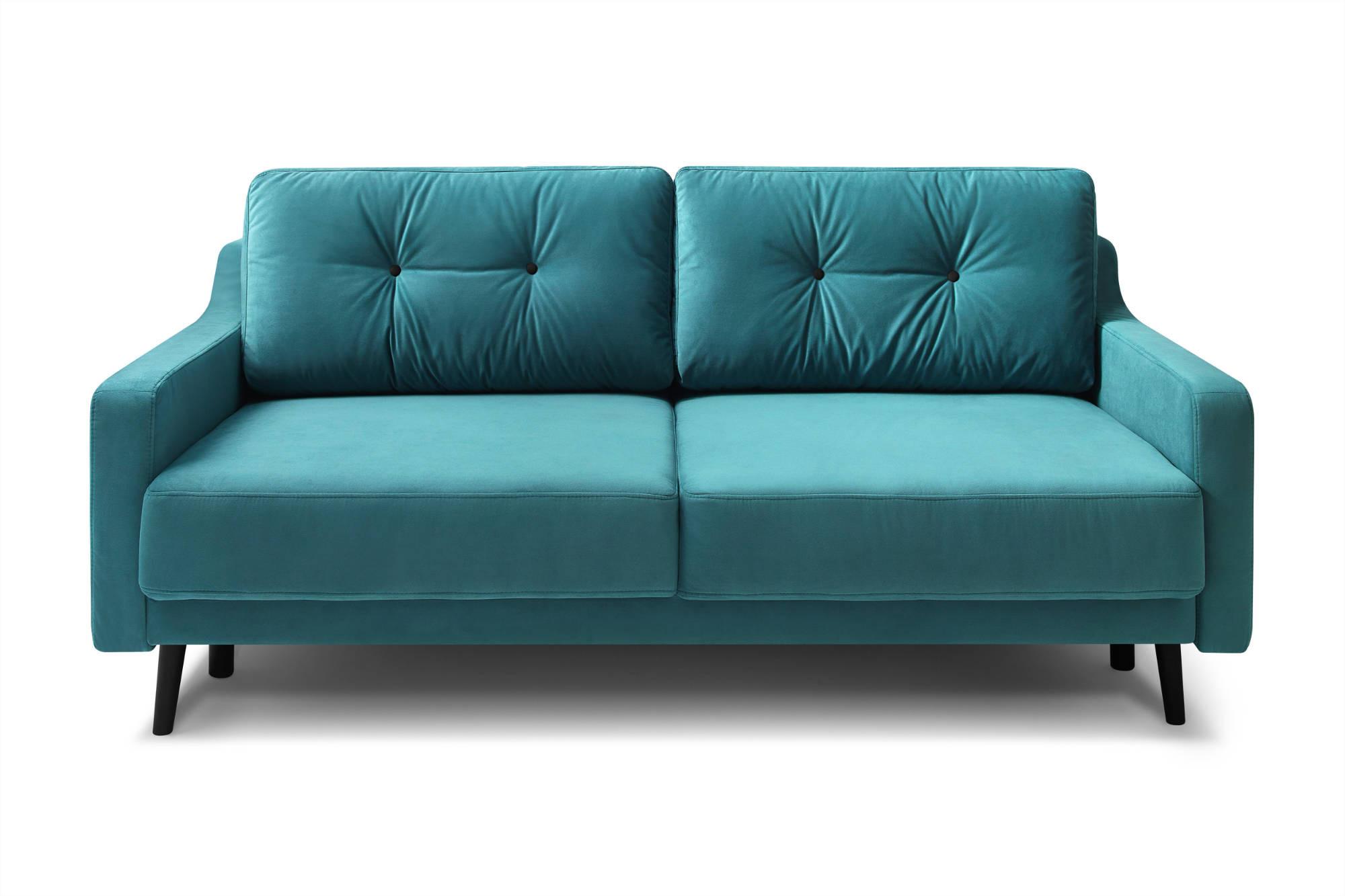 Canapé droit 3 places Bleu Velours Contemporain Confort
