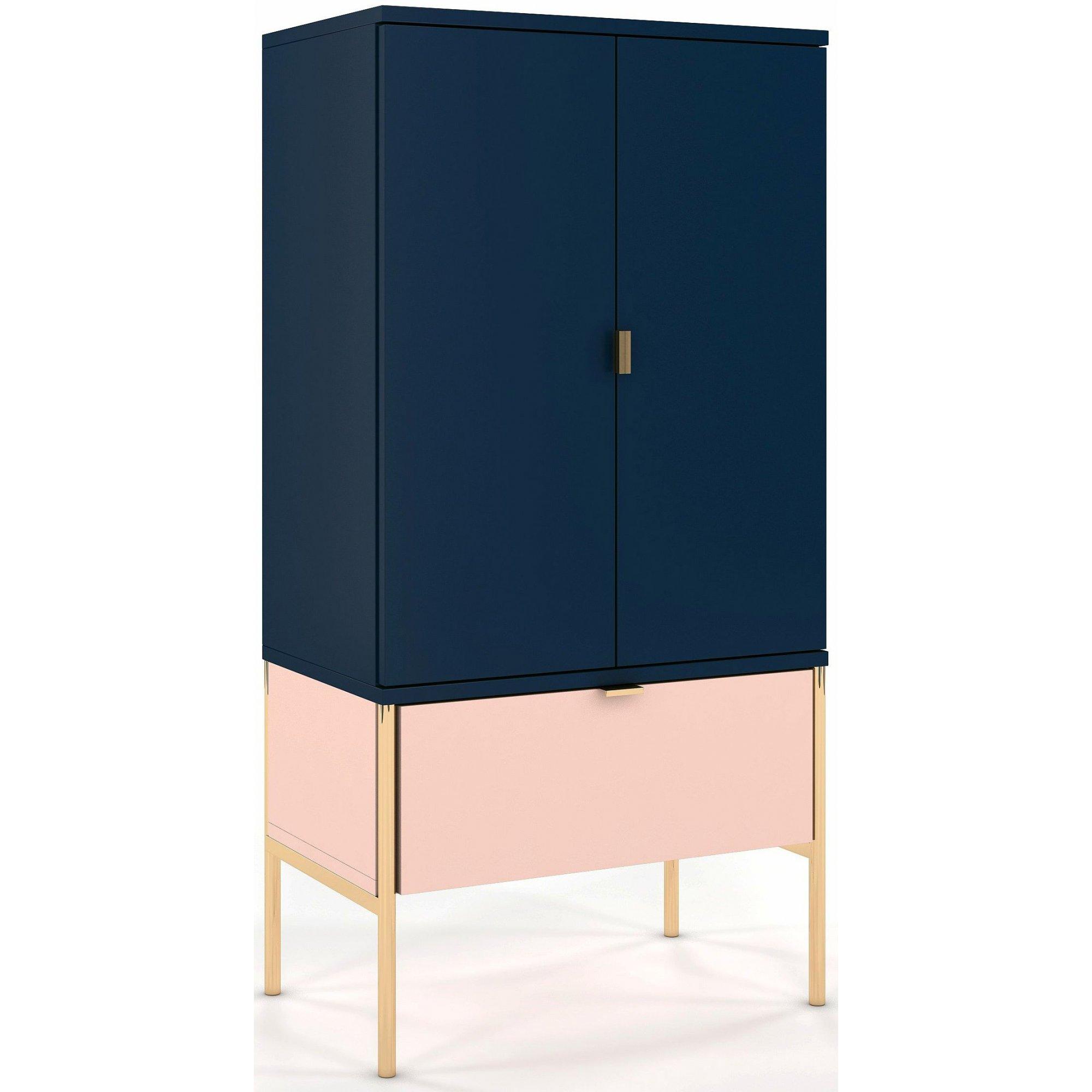 Buffet 1 tiroir 2 portes couleur bleu et rose pied doré