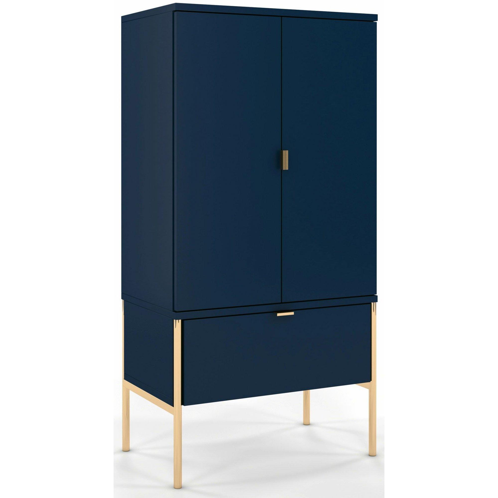 Buffet 1 tiroir 2 portes couleur bleu pied doré