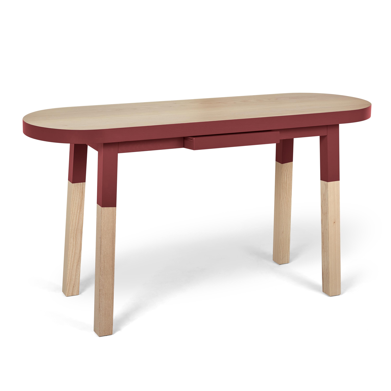 maison du monde Console ovale L. 140 cm rouge de pluduno