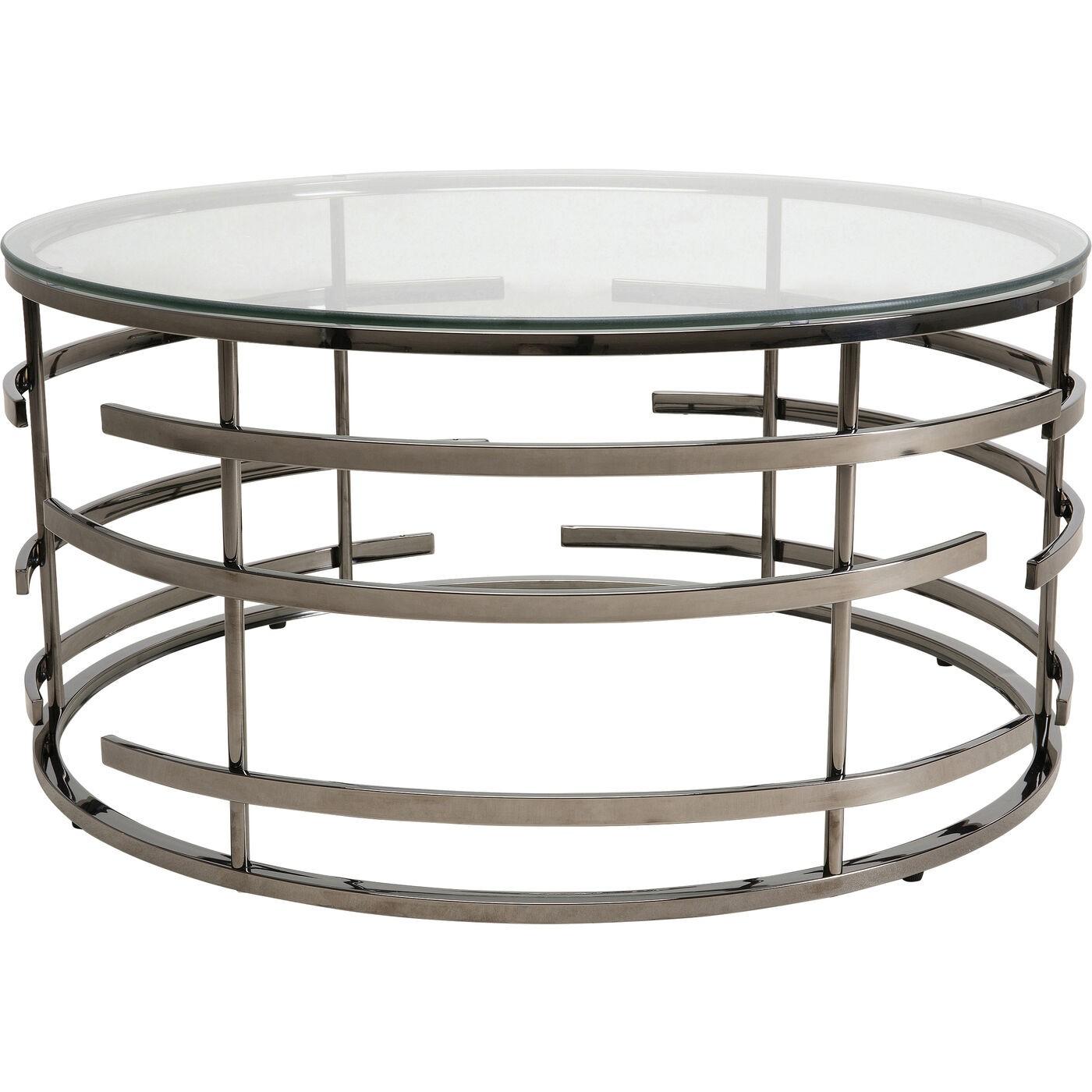 Table basse en acier noir et verre