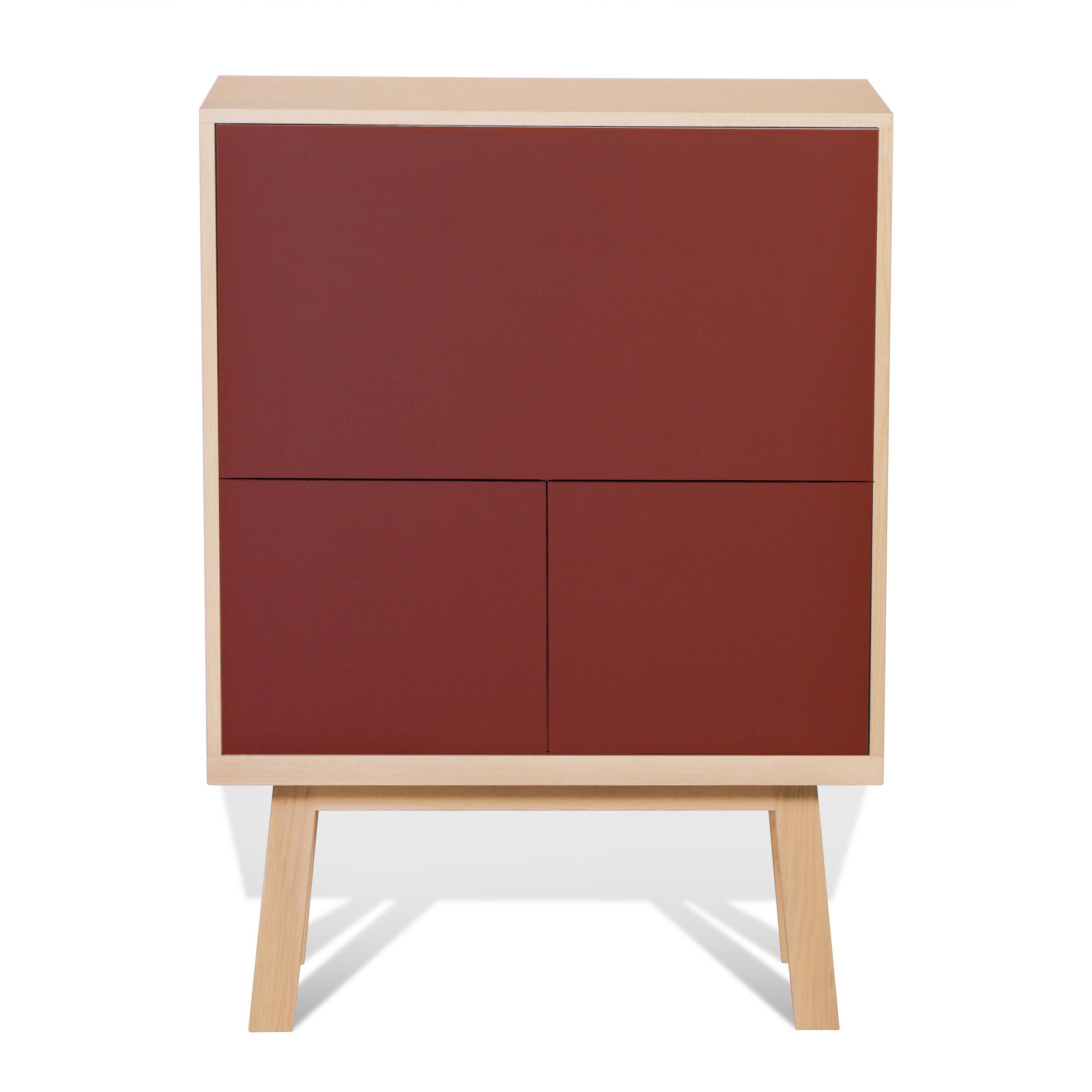 maison du monde Bureau secrétaire en bois rouge de pluduno
