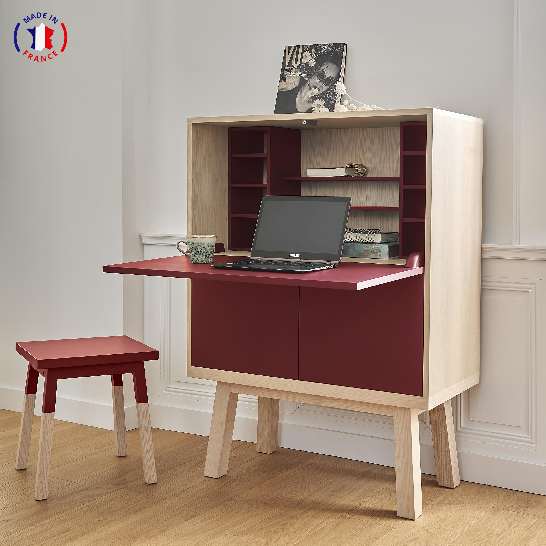 Bureau secrétaire en bois rouge de pluduno