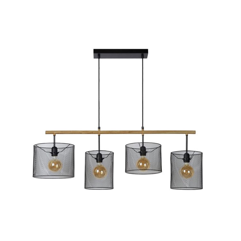 Suspension 4 lumières en bois et métal L107cm